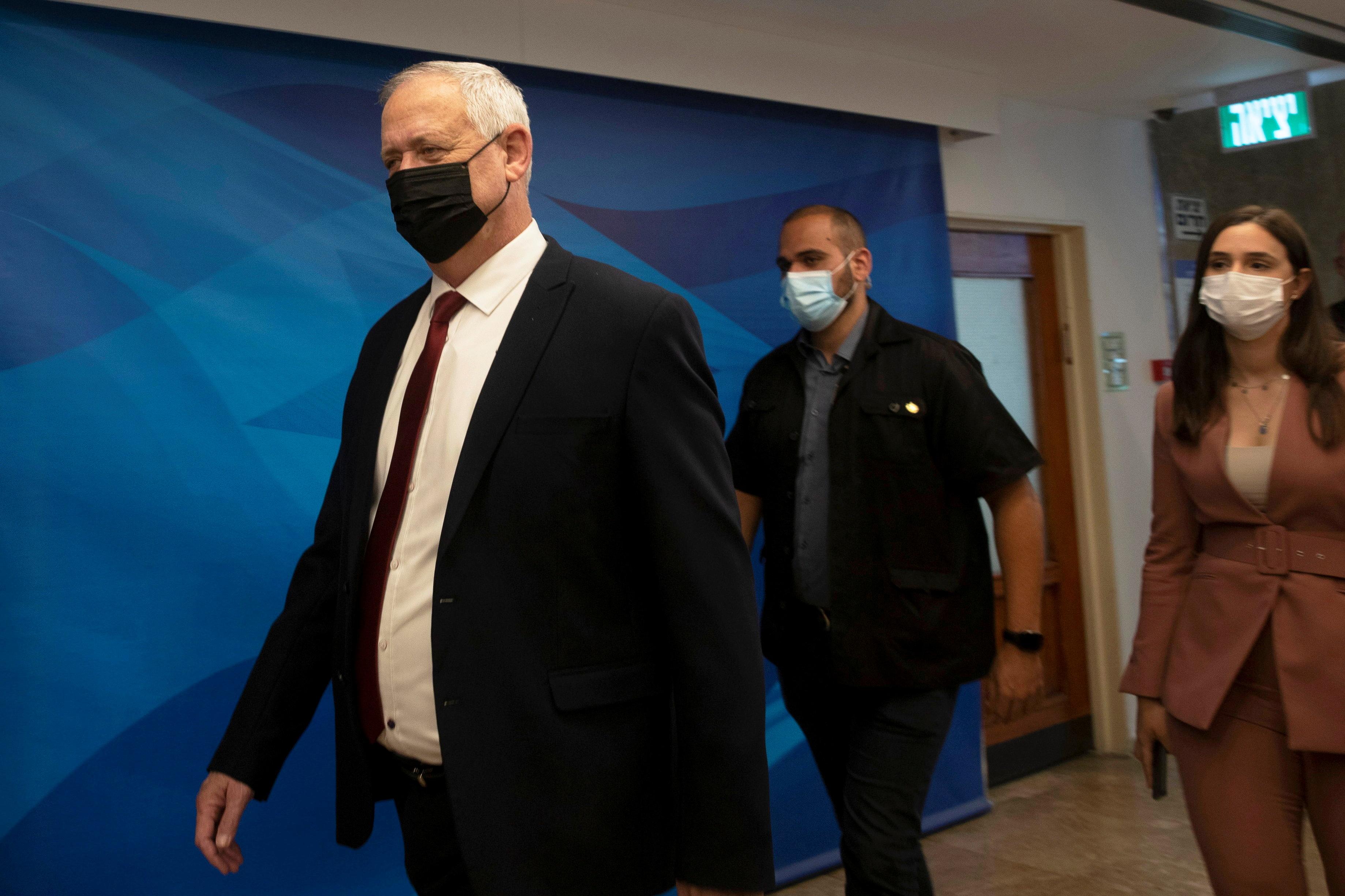 Israel's Minister of Defense Benny Gantz arrives for the weekly cabinet meeting in Jerusalem, June 27, 2021. Maya Alleruzzo/Pool via REUTERS/File Photo