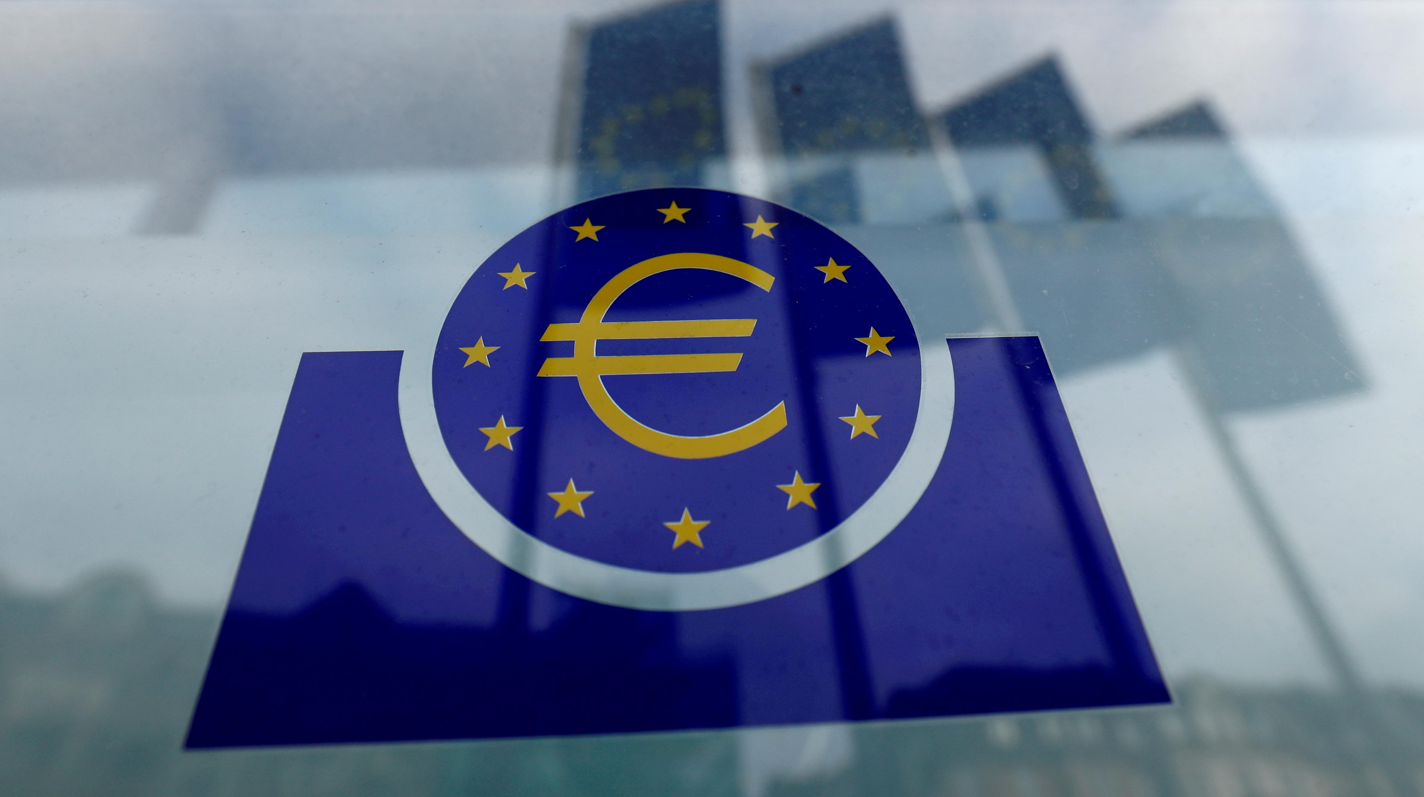 The European Central Bank (ECB) logo in Frankfurt, Germany, January 23, 2020. REUTERS/Ralph Orlowski