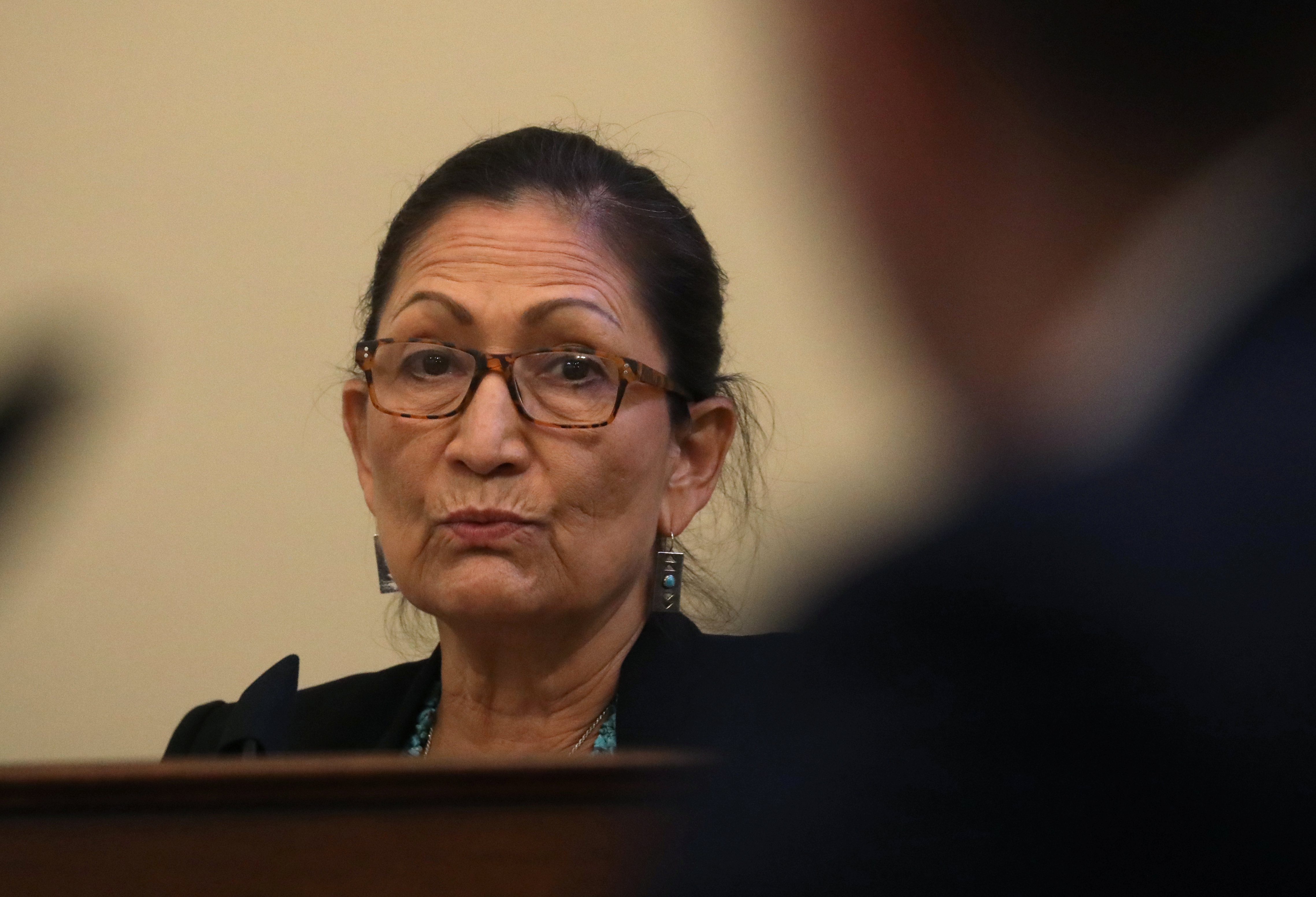 U.S. Rep. Deb Haaland (D-NM) questions Major Adam DeMarco of the District of Columbia National Guard as he testifies about the June 1 confrontation with protesters at Lafayette Square near the White House during a House Natural Resources Committee hearing on Capitol Hill in Washington, U.S., July 28, 2020. REUTERS/Leah Millis/Pool