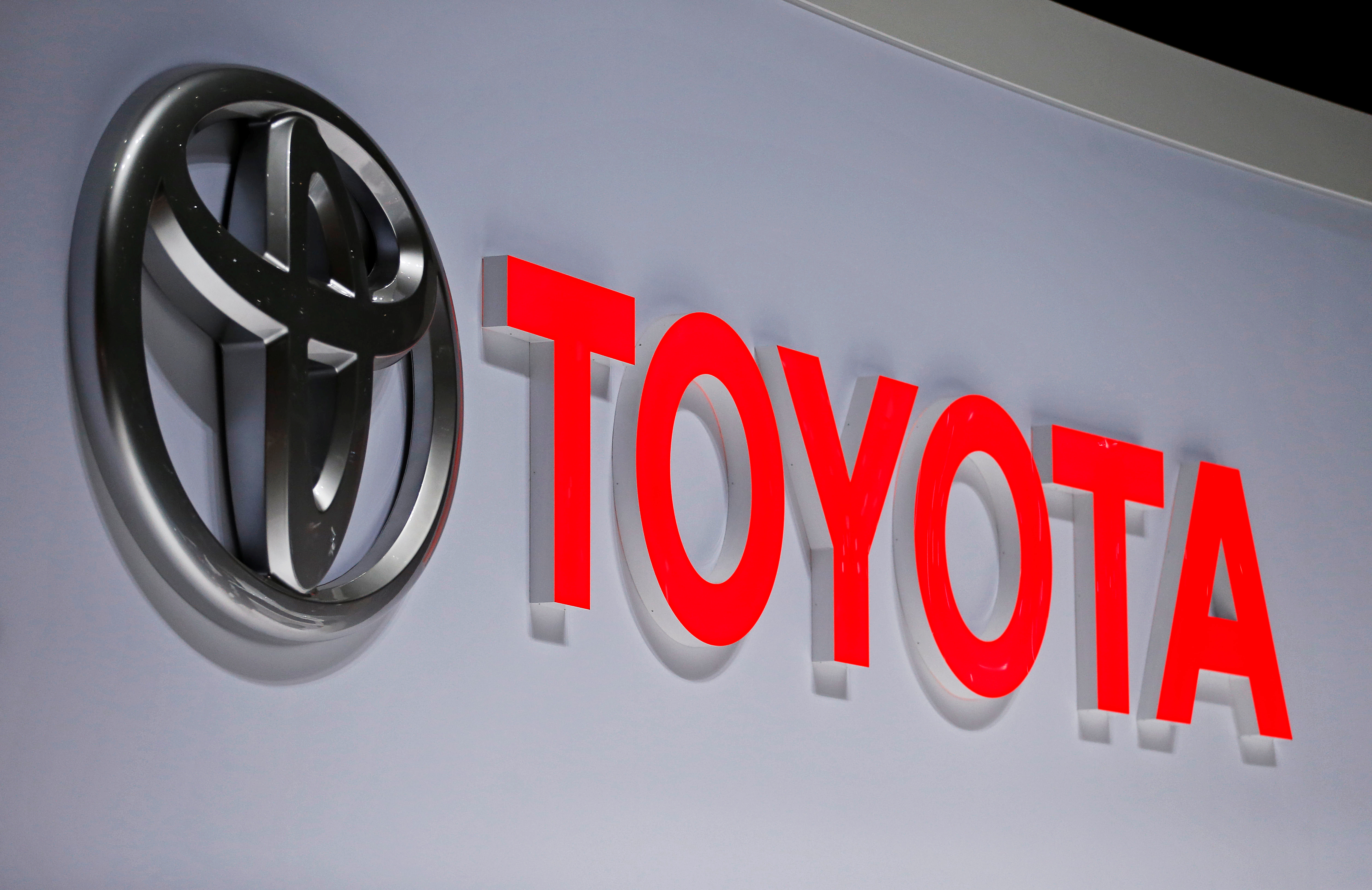 A Toyota logo is displayed at the 89th Geneva International Motor Show in Geneva, Switzerland March 5, 2019. REUTERS/Pierre Albouy