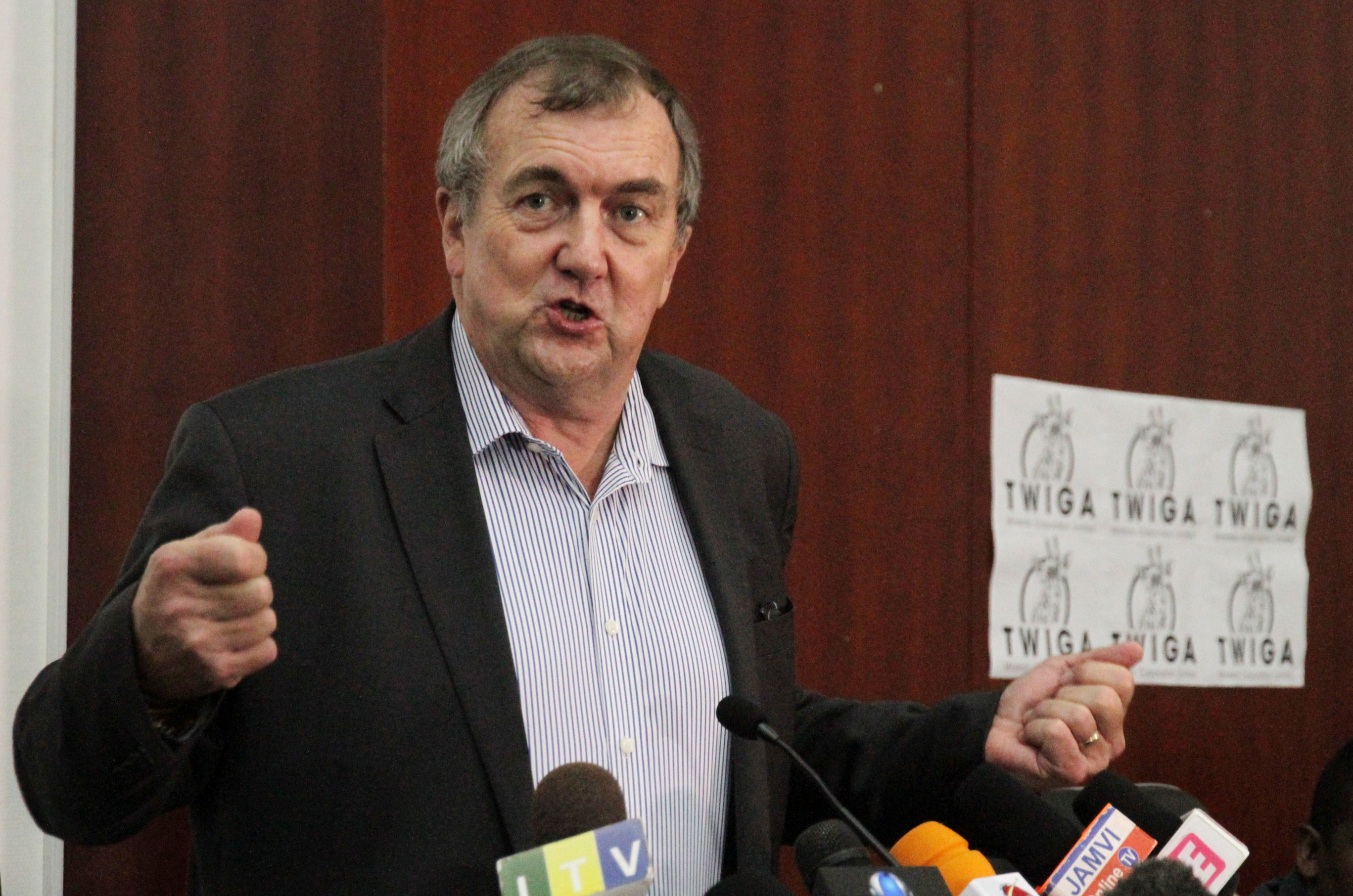 Mark Bristow, chief executive officer of Barrick Gold, address a news conference at the launch of Twiga Minerals Heralds Partnership between Tanzania Government and Barrick Gold Corp in Dar es Salaam, Tanzania October 20, 2019. REUTERS/Emmanuel Herman