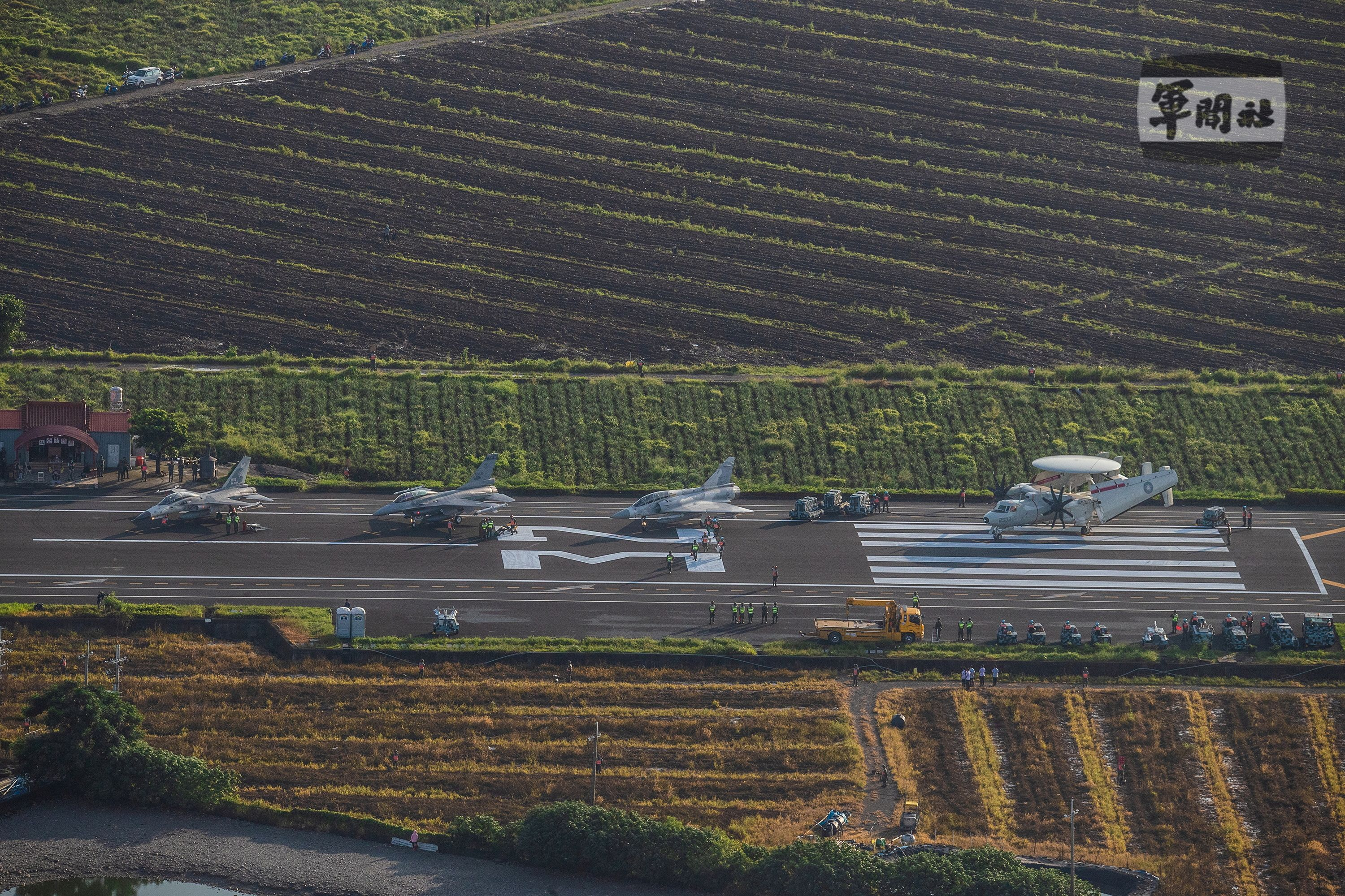Taiwanese Air Force fighter jets park on a highway that is converted as a runway during the take-off and landing drill as part of the annual Han Kuang drill in Pingtung, Taiwan, 15 September 2021. TAIWAN MILITARY NEWS AGENCY/Handout via REUTERS