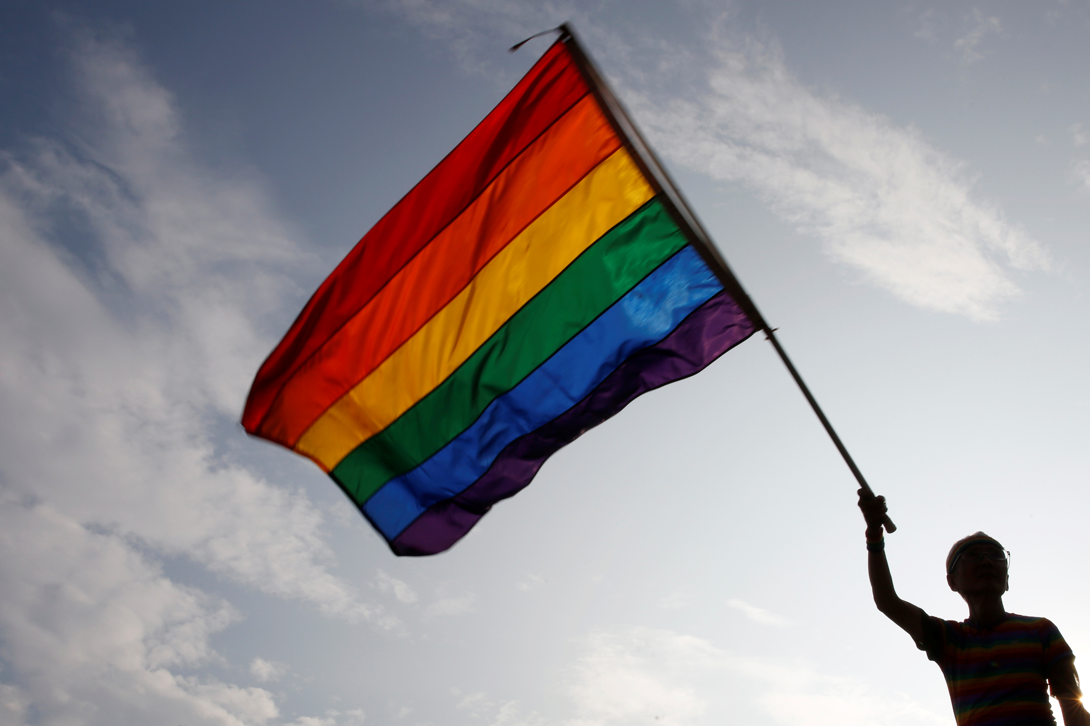 Gay rights activist Chi Chia-wei waves a rainbow flag during a rally to support the upcoming same-sex marriage referendum, in Taipei, Taiwan November 18, 2018. REUTERS/Tyrone Siu