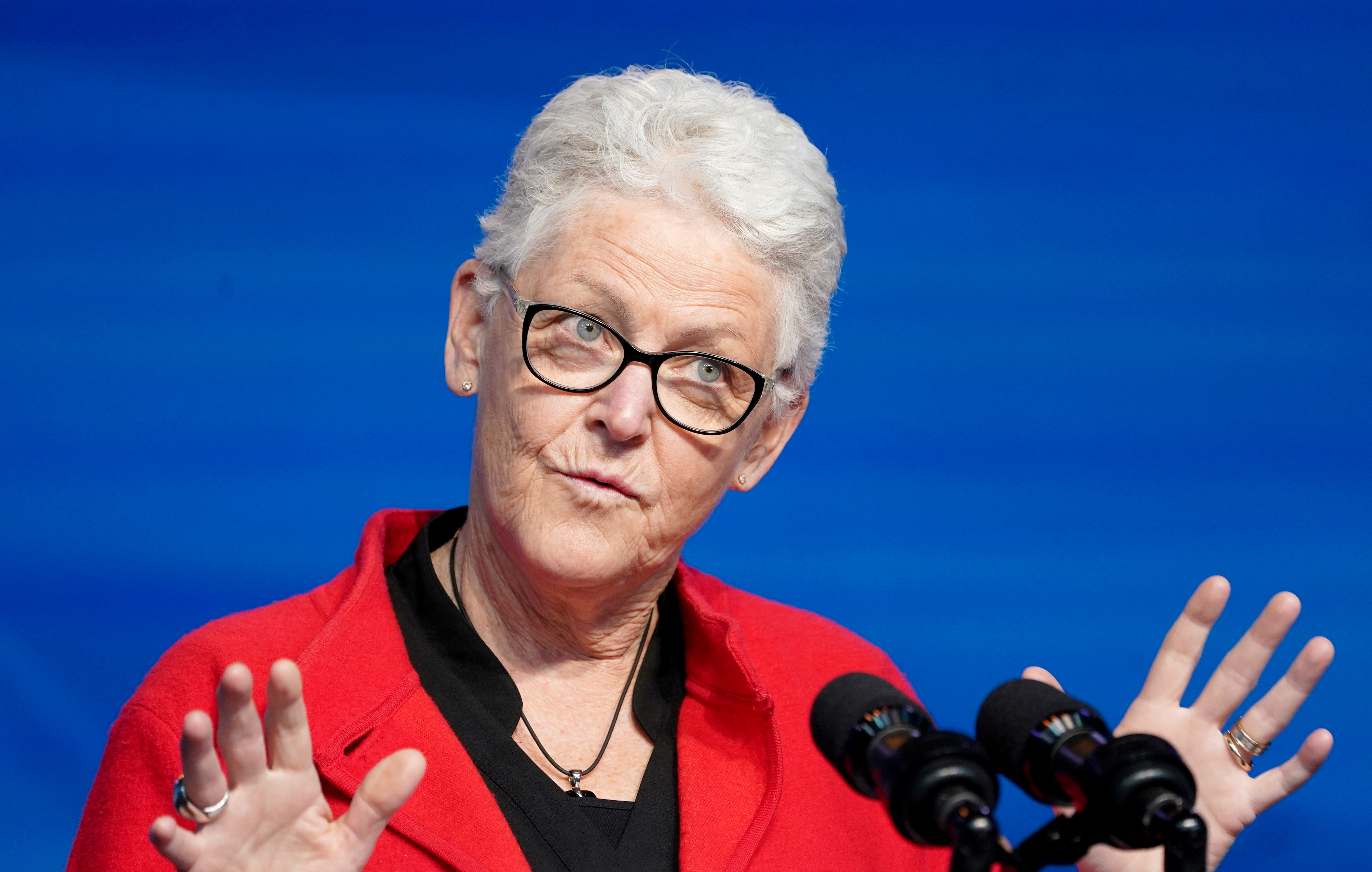 Former EPA chief Gina McCarthy, U.S. President-elect Joe Biden's nominee for National Climate Adviser, speaks after Biden announced her nomination among another round of nominees and appointees for his administration in Wilmington, Delaware, U.S., December 19, 2020. REUTERS/Kevin Lamarque/File Photo
