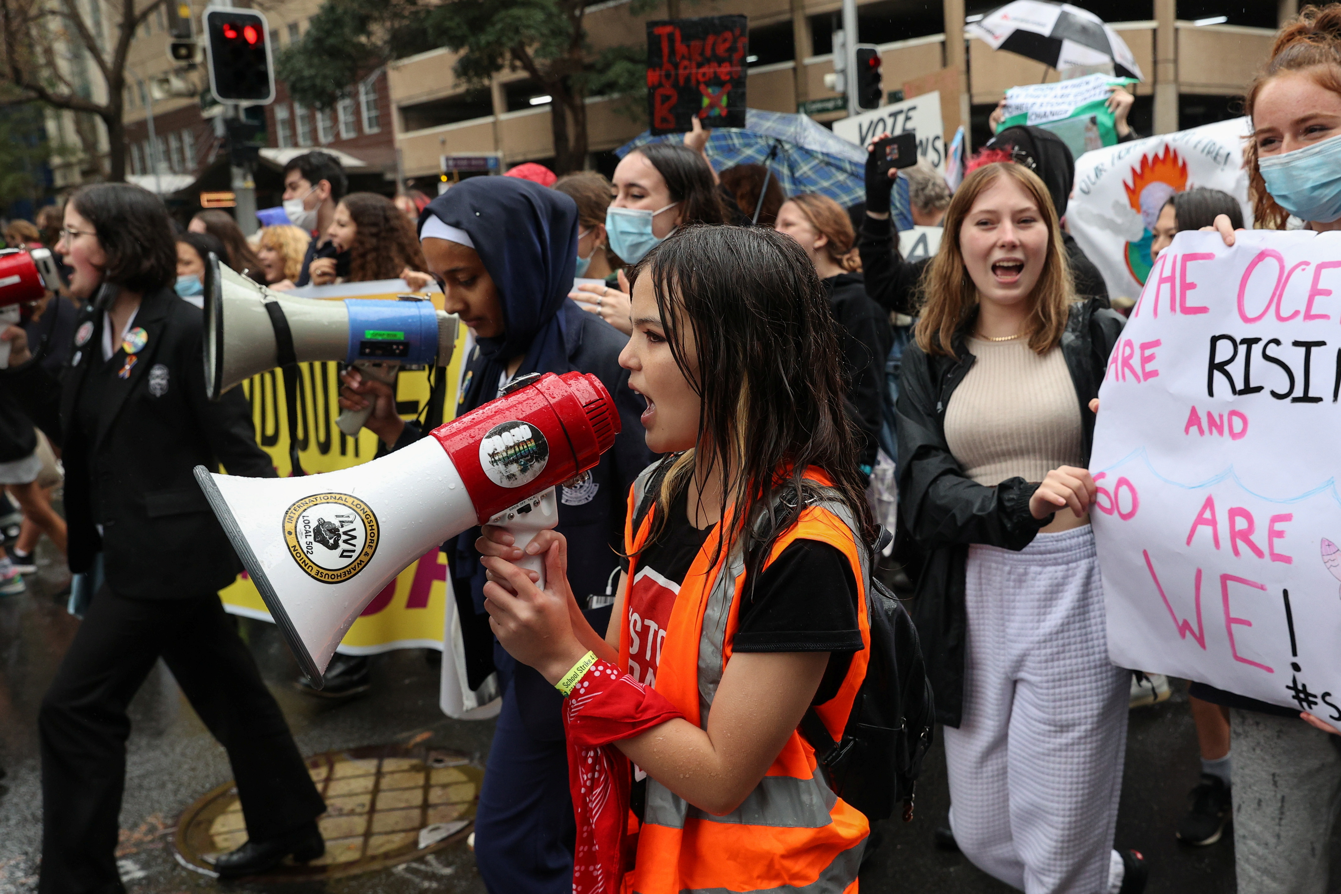 Izzy Raj-Seppings, a 14-year-old student and climate activist, leads a