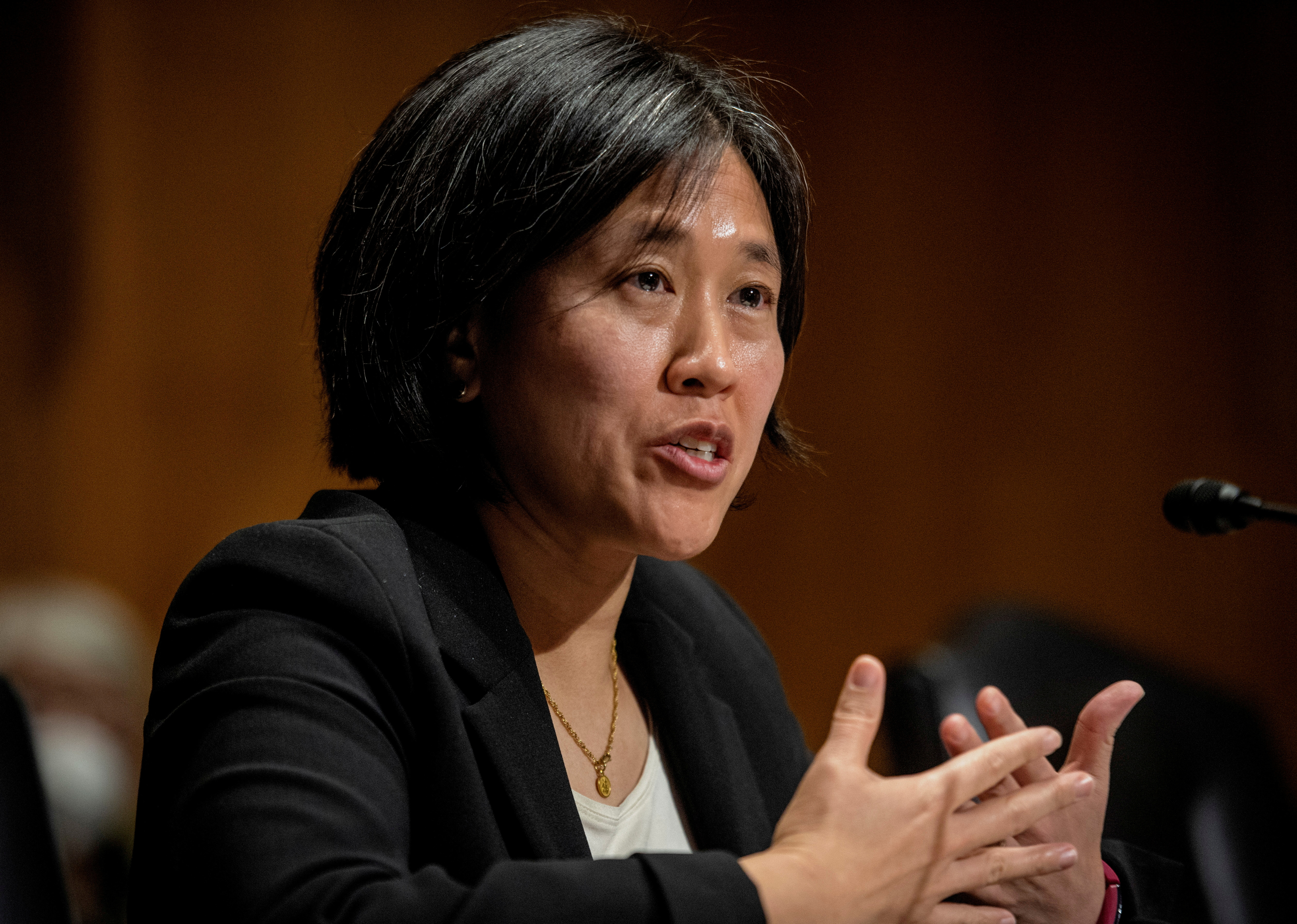 Katherine C. Tai addresses the Senate Finance committee hearings to examine her nomination to be United States Trade Representative, with the rank of Ambassador, in Washington, DC February 25, 2021. Bill O'Leary/Pool via REUTERS/File Photo