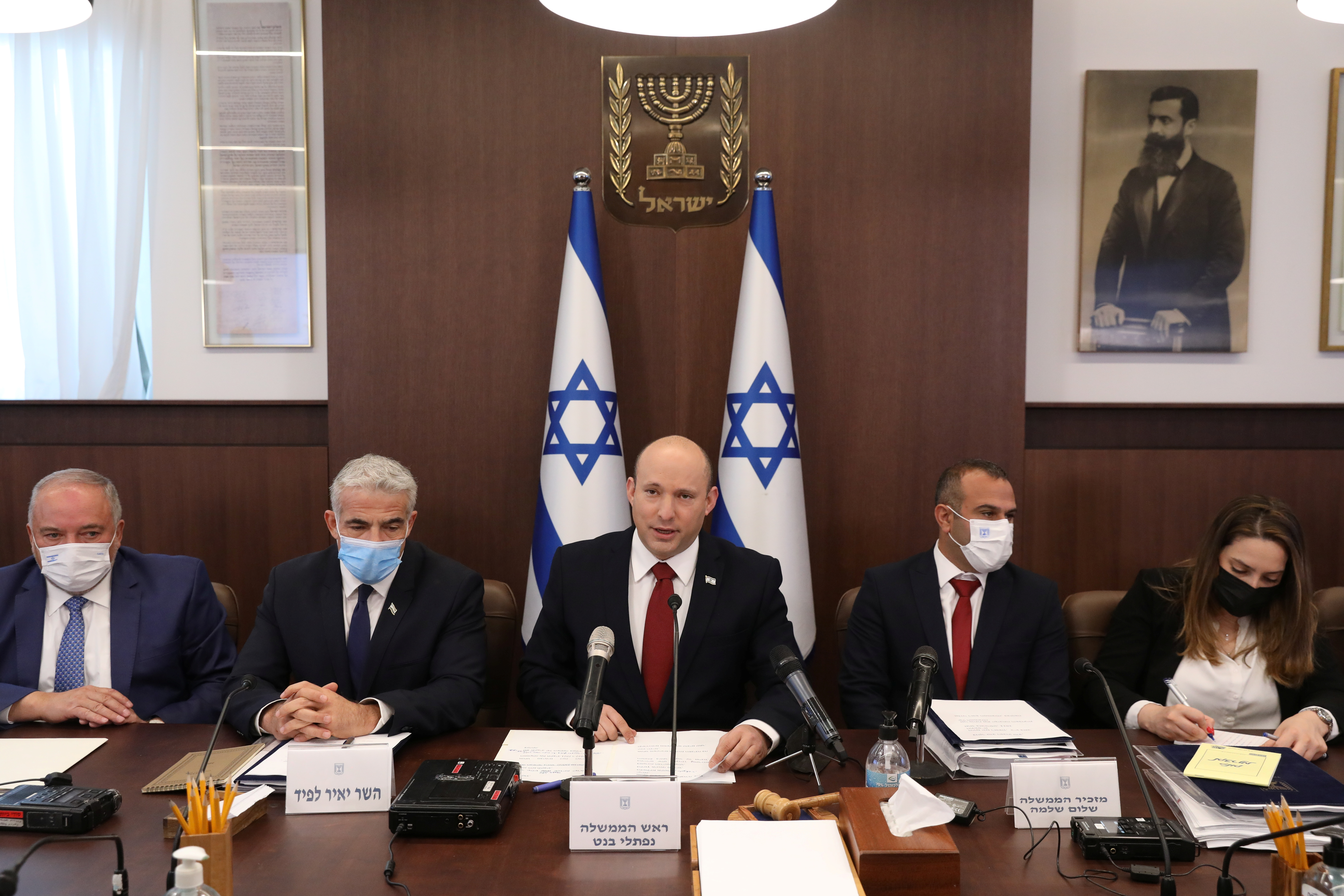 Israeli Prime Minister Naftali Bennett attends the weekly cabinet meeting at the prime minister's office in Jerusalem August 1, 2021. Abir Sultan/Pool via REUTERS