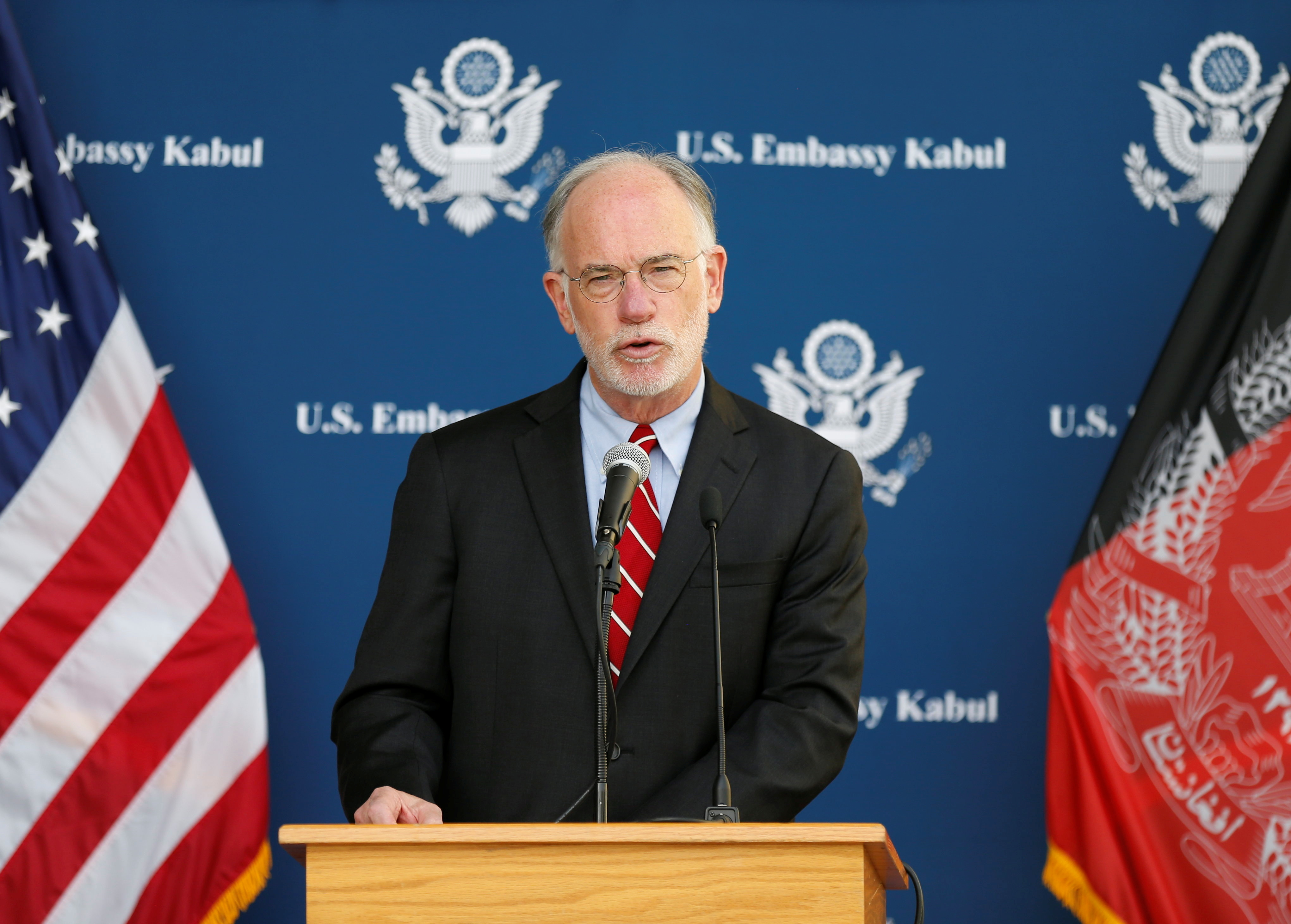 Ambassador Ross Wilson, U.S. Charge D'Affaires, speaks during a press conference at the U.S. Embassy in Kabul, Afghanistan, July 30, 2021. REUTERS/Stringer