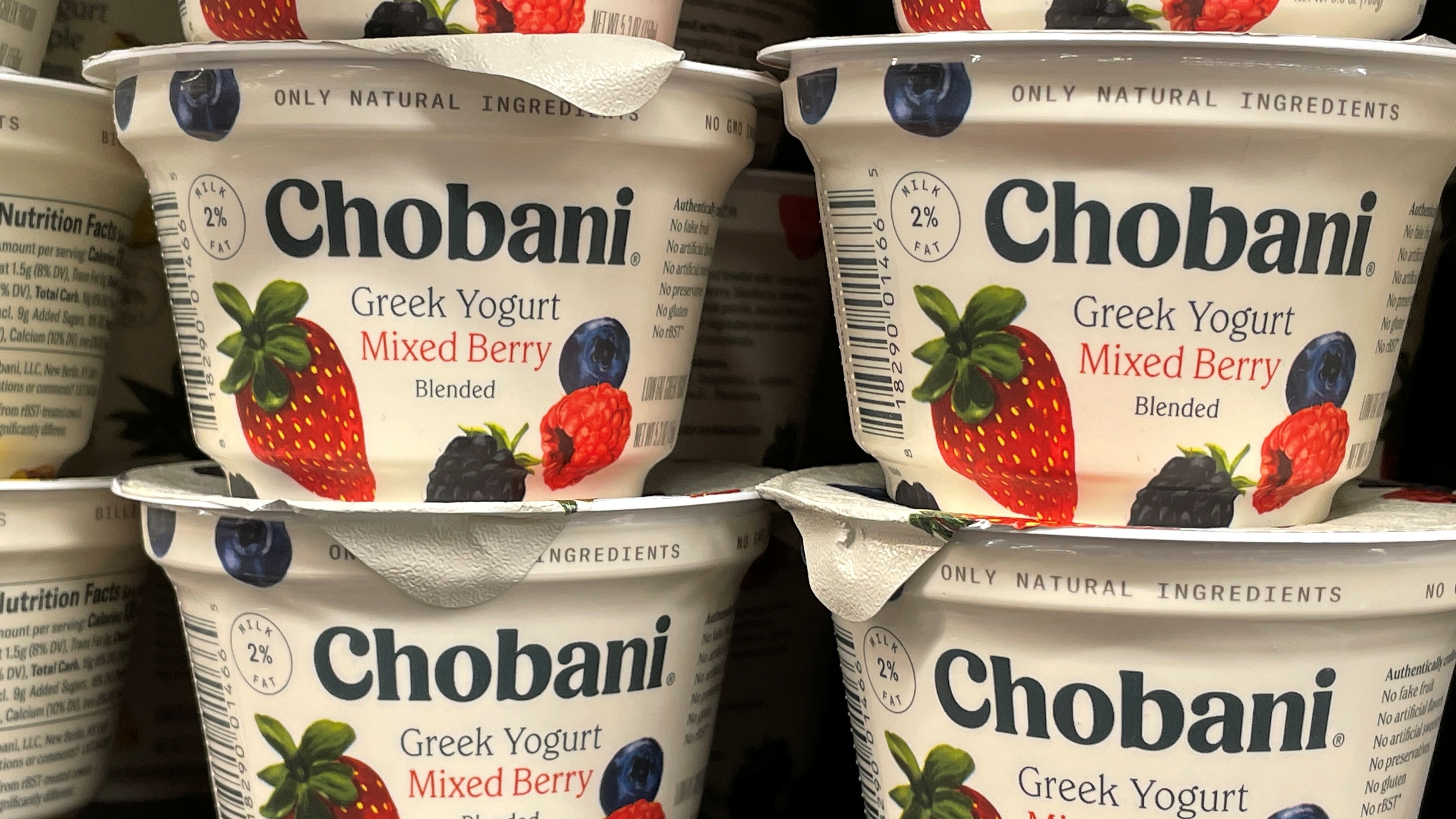 Greek-yogurt maker Chobani is shown for sale in a grocery store in San Diego, California. Greek-yogurt maker Chobani could be valued at more than $10 billion in its initial public offering (IPO), a person familiar with the matter told Reuters on Wednesday, as the company confidentially filed regulatory paperwork for its stock market listing. July 07, 2021.  REUTERS/Mike Blake