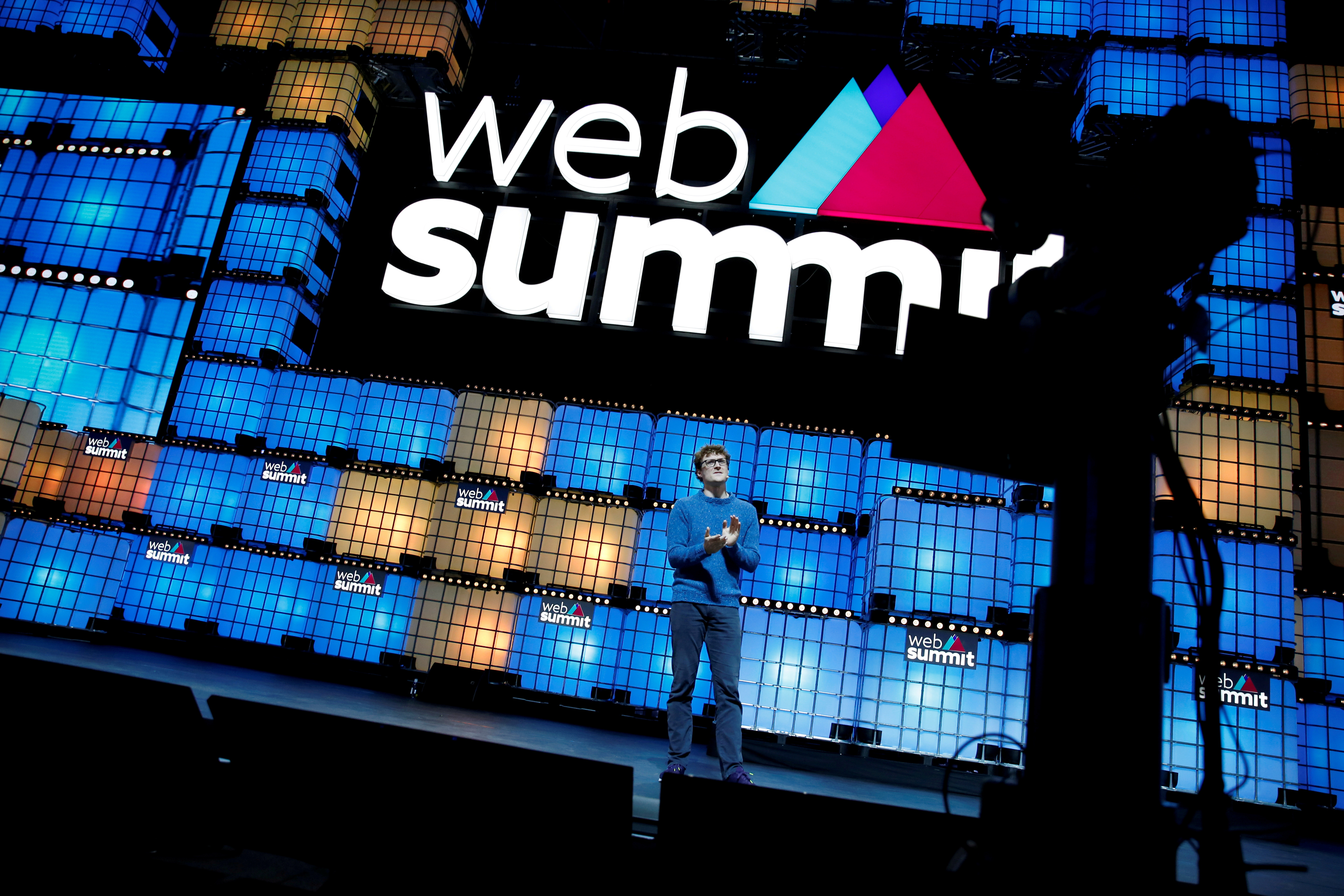 Web Summit founder Paddy Cosgrave speaks at the closing ceremony of the Web Summit, in Lisbon, Portugal, November 7, 2019. REUTERS/Pedro Nunes/File Photo
