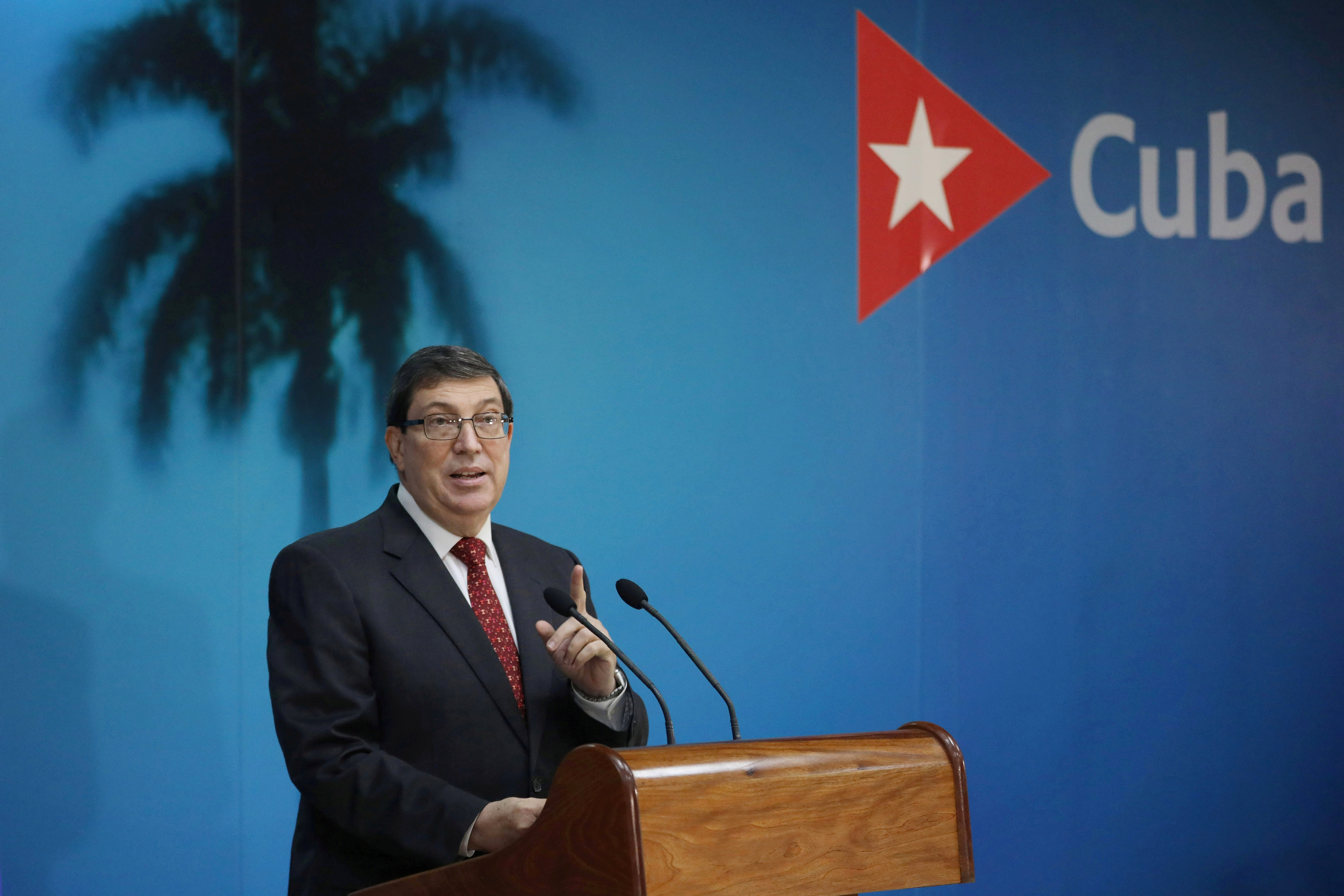 Cuba's Foreign Minister Bruno Rodriguez speaks during a news conference in Havana, Cuba, October 22, 2020. REUTERS/Alexandre Meneghini/Pool/File Photo