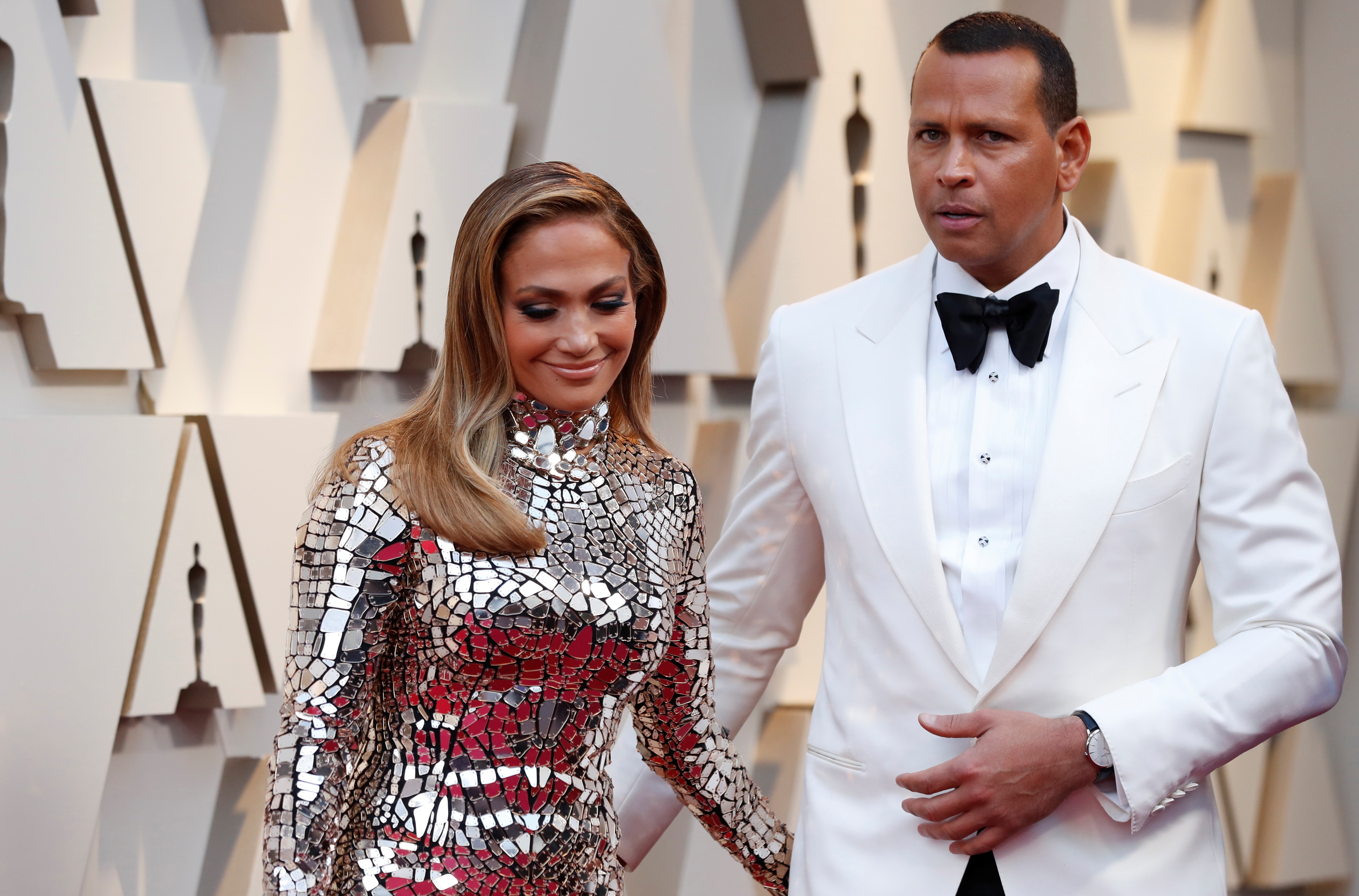 91st Academy Awards - Oscars Arrivals - Red Carpet - Hollywood, Los Angeles, California, U.S., February 24, 2019. Jennifer Lopez, wearing Tom Ford, and Alex Rodriguez. REUTERS/Mario Anzuoni