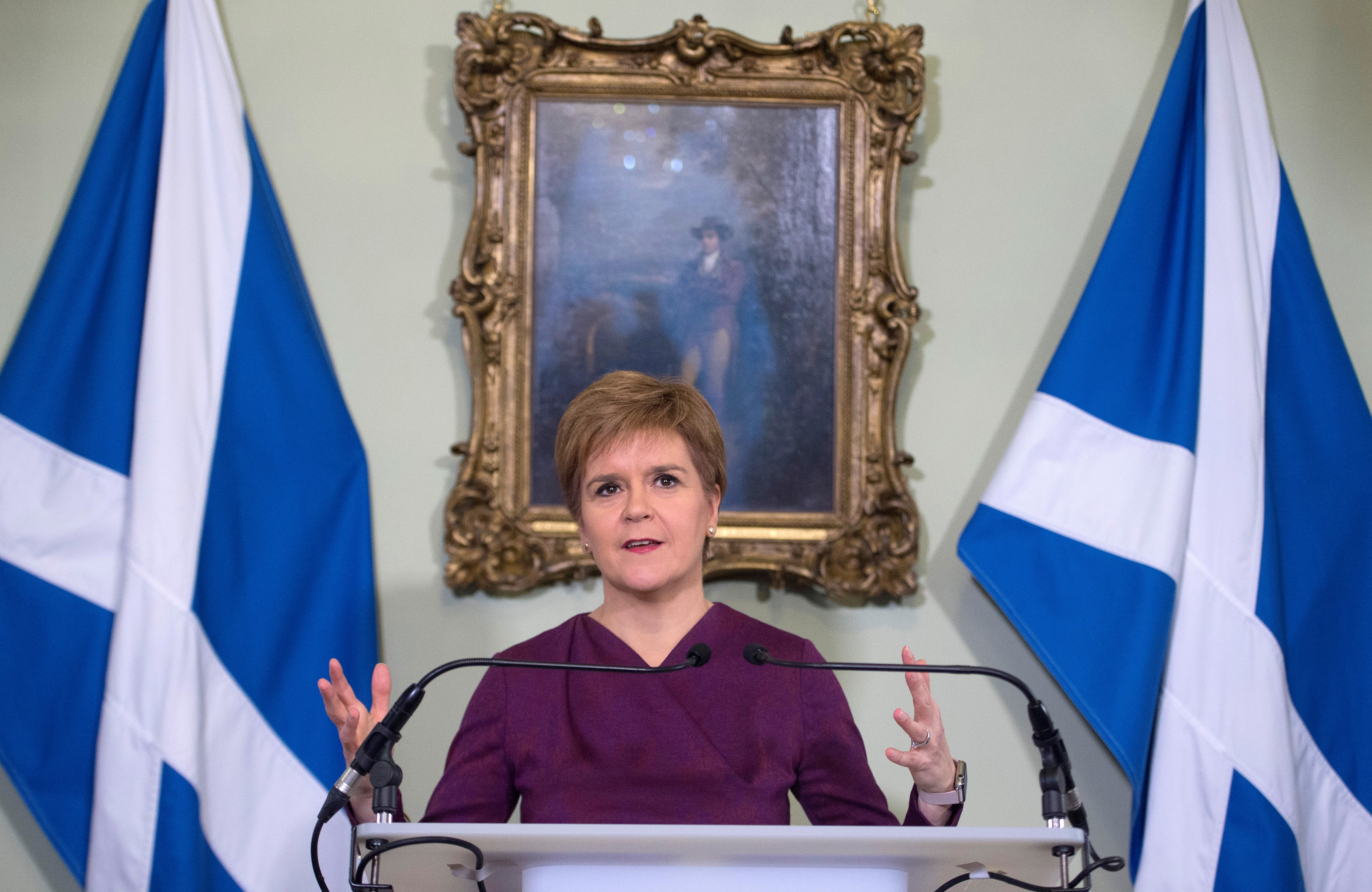 Scottish National Party (SNP) leader and Scotland's First Minister Nicola Sturgeon speaks at Bute House in Edinburgh, Scotland, Britain December 19, 2019.  Neil Hanna/Pool via REUTERS