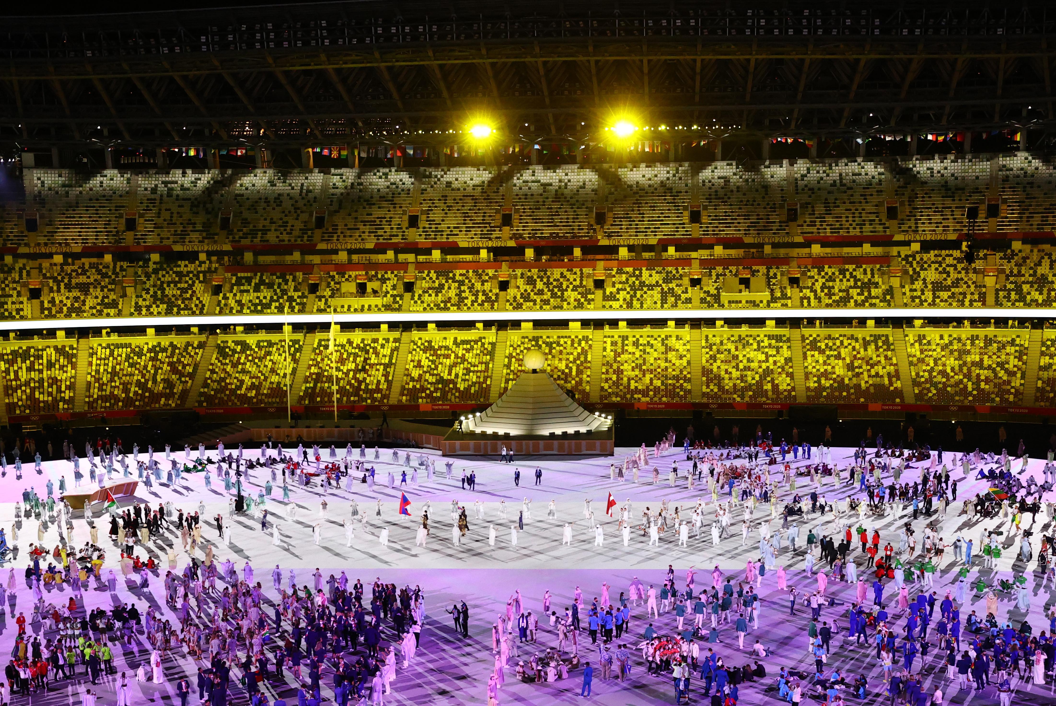 Tokyo 2020 Olympics - The Tokyo 2020 Olympics Opening Ceremony - Olympic Stadium, Tokyo, Japan - July 23, 2021. Athletes enter the stadium during the opening ceremony REUTERS/Marko Djurica