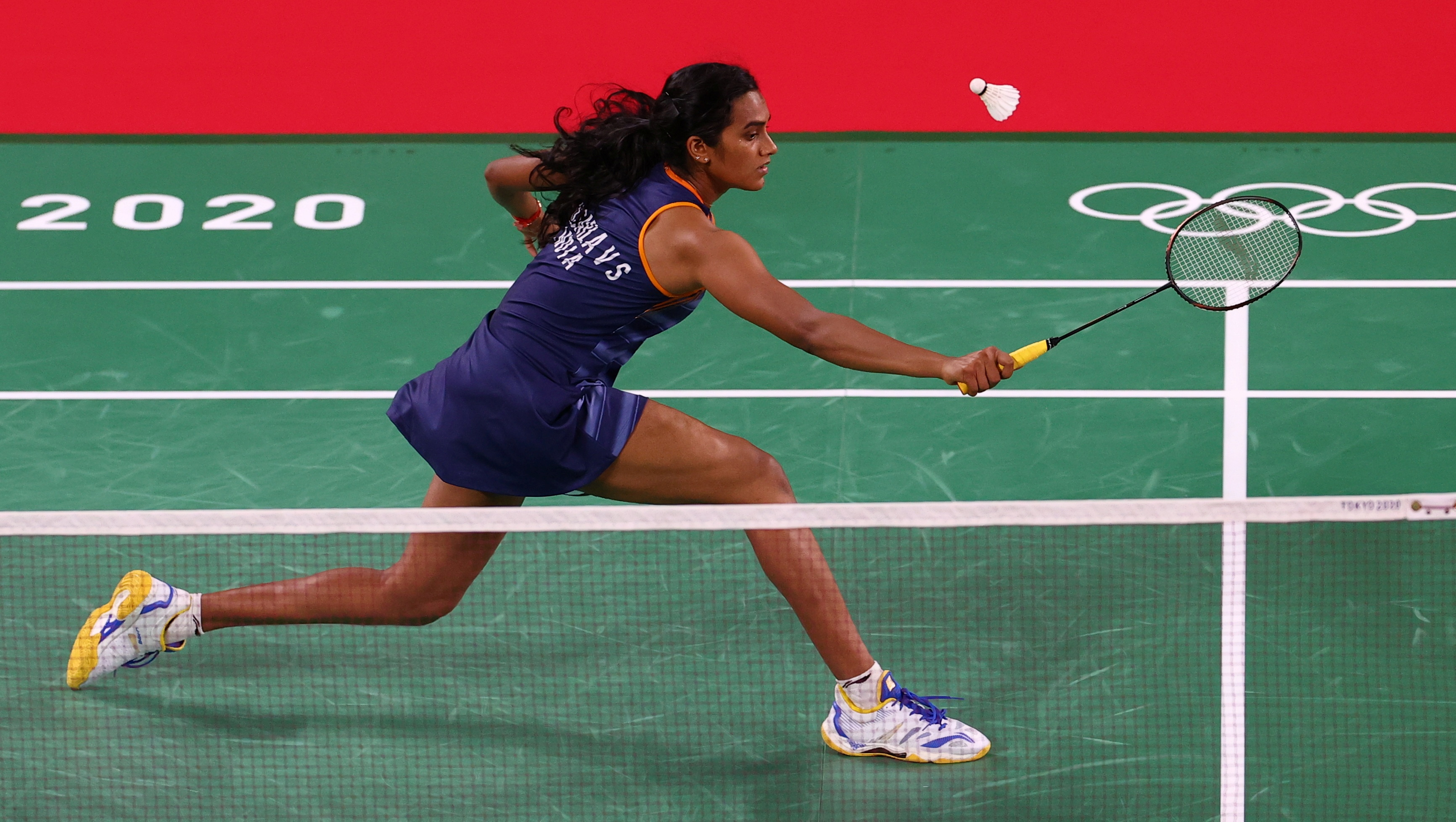 Tokyo 2020 Olympics - Badminton - Women's Singles - Group Stage - MFS - Musashino Forest Sport Plaza, Tokyo, Japan – July 25, 2021. P.V. Sindhu of India in action during the match against Ksenia Polikarpova of Israel. REUTERS/Leonhard Foeger/File Photo