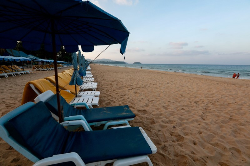 Empty chairs are seen on a beach which is usually full of tourists, amid fear of coronavirus in Phuket, Thailand March 11, 2020. REUTERS/Soe Zeya Tun/File Photo