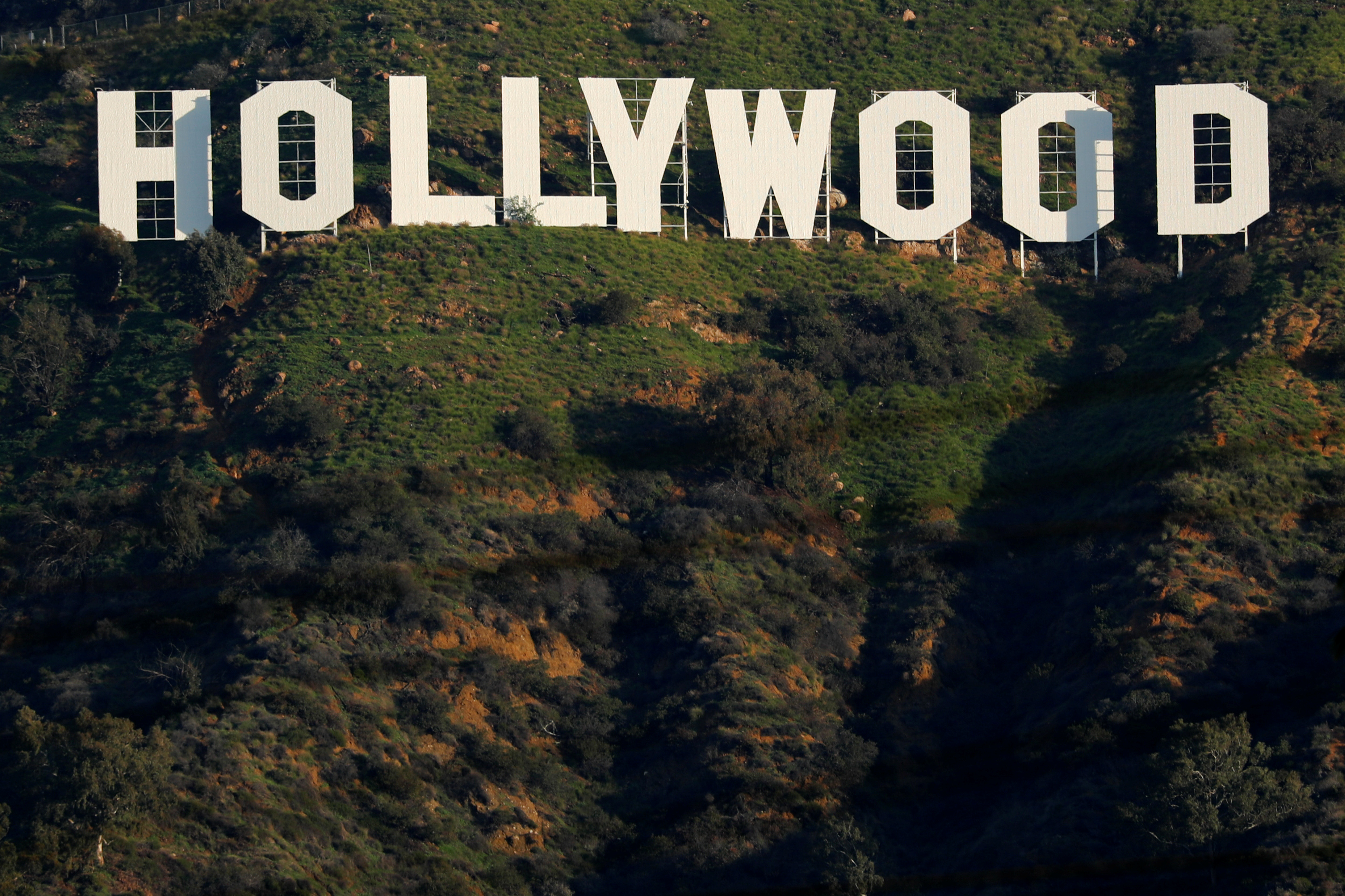 The iconic Hollywood sign is shown on a hillside above a neighborhood in Los Angeles California, U.S., February 1, 2019. REUTERS/Mike Blake