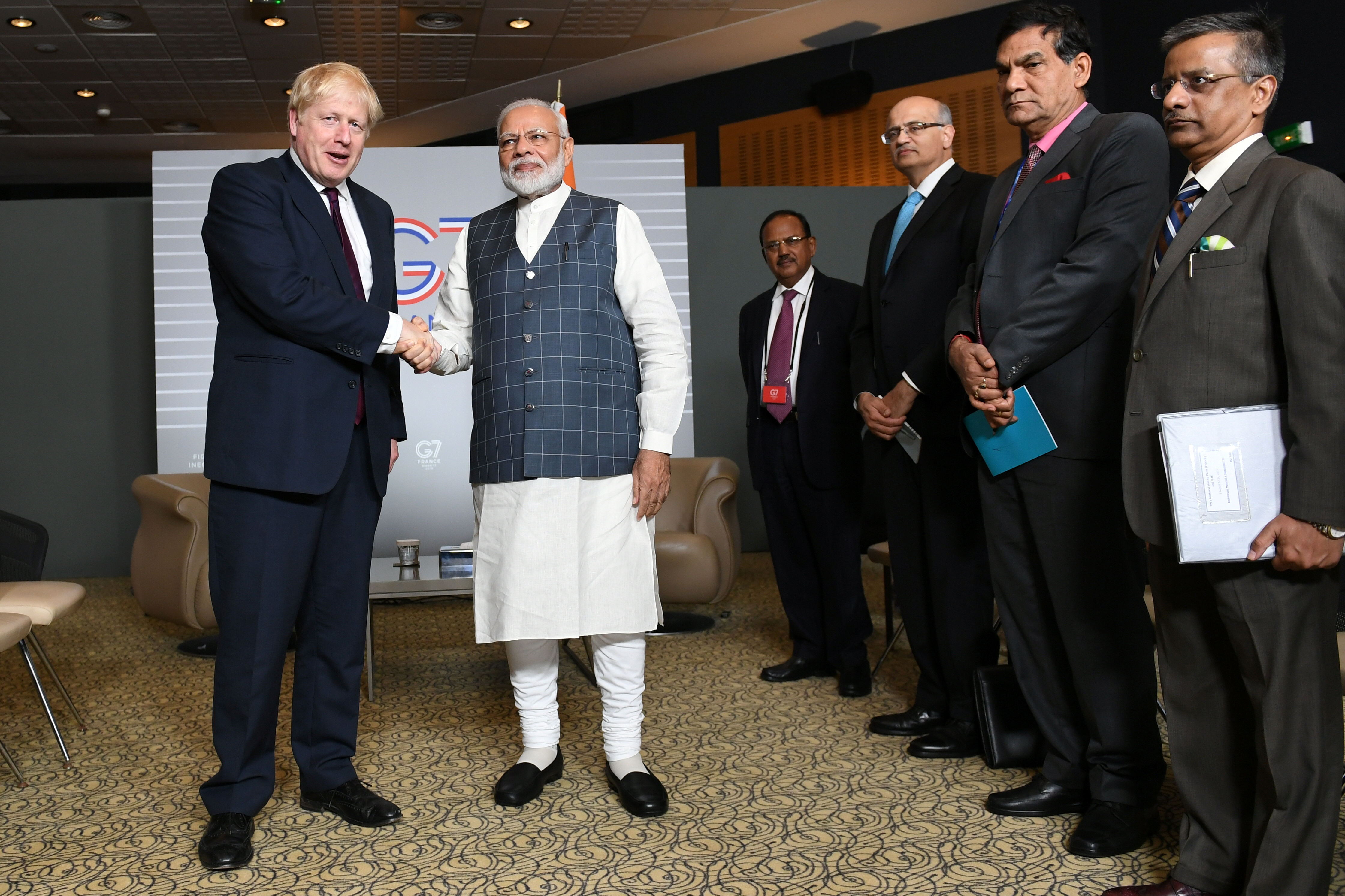 Britain's Prime Minister Boris Johnson meets Indian Prime Minister Narendra Modi at a bilateral meeting during the G7 summit in Biarritz, France August 25, 2019. Stefan Rousseau/Pool via REUTERS