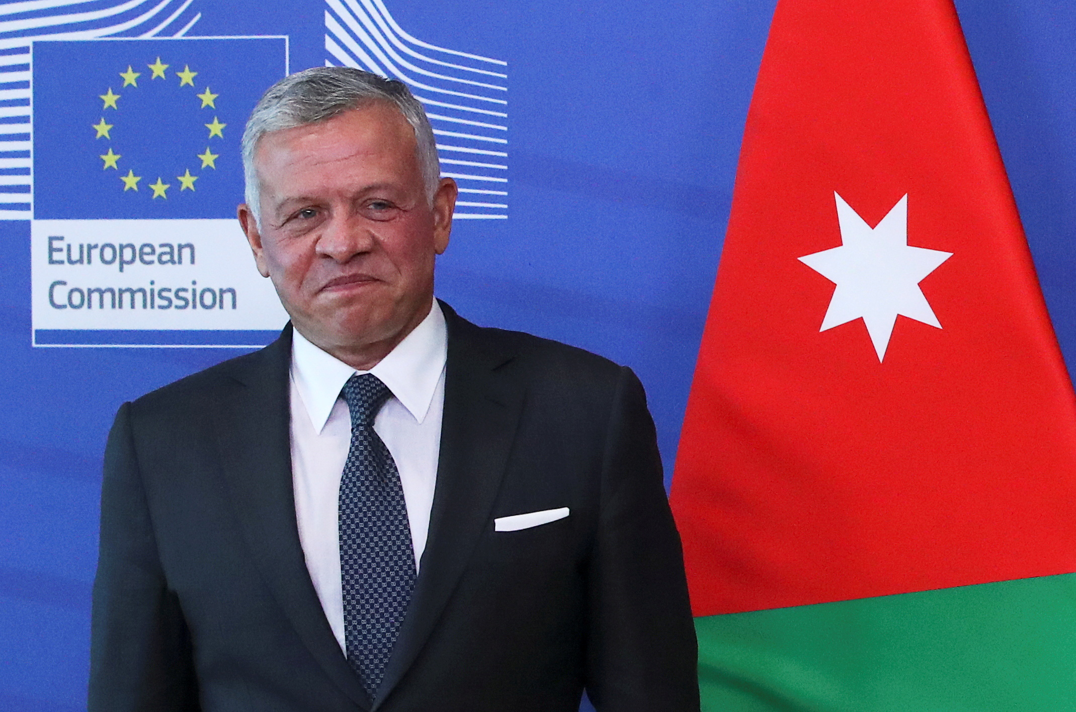 Jordan's King Abdullah II ibn Al Hussein  reacts while meeting with European Commission President Ursula von der Leyen (not pictured) in Brussels, Belgium May 5, 2021. REUTERS/Yves Herman/Pool/File Photo