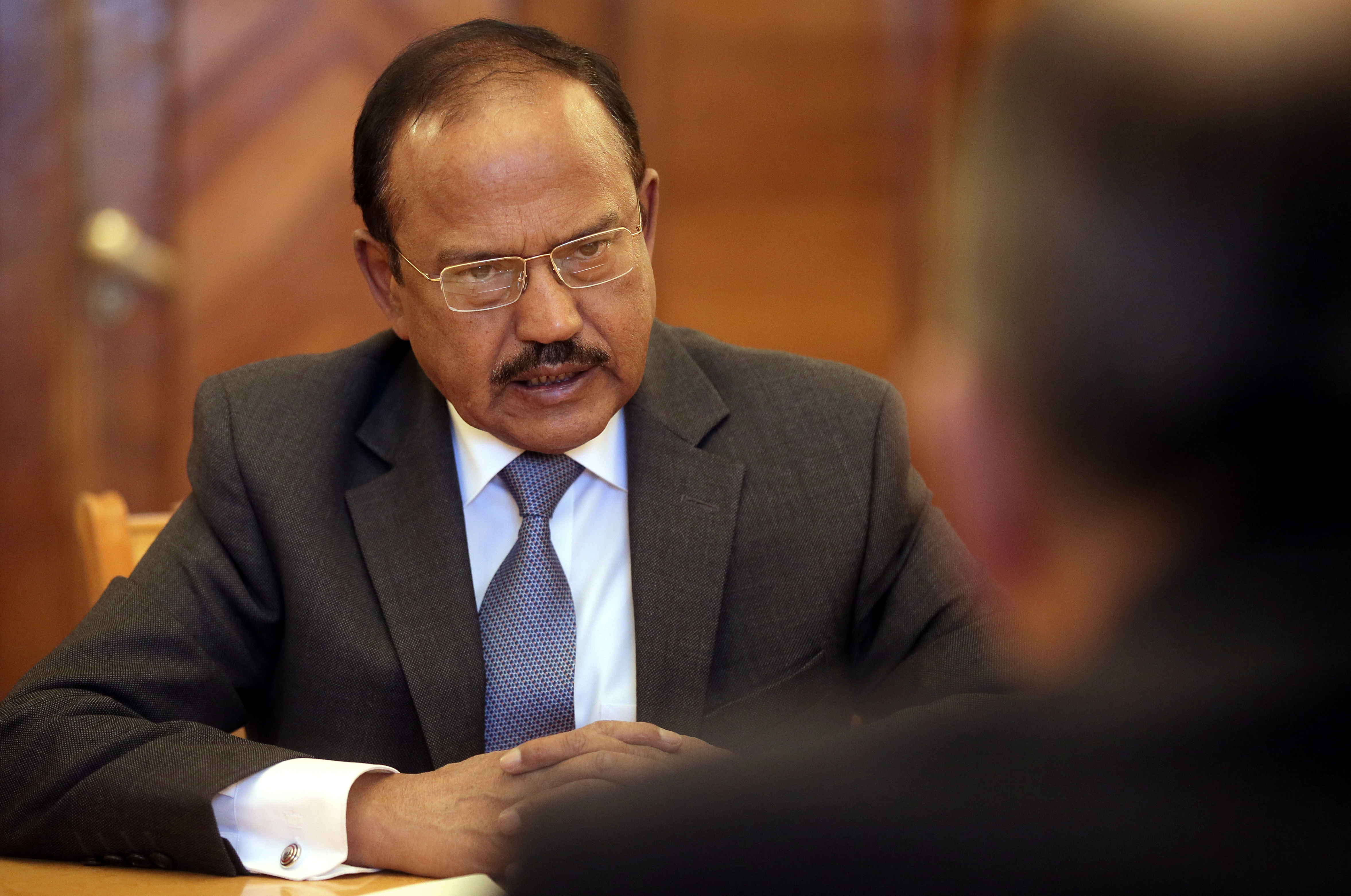 India's National Security Advisor Ajit Doval speaks during a meeting with Russian Foreign Minister Sergei Lavrov in Moscow, Russia May 10, 2018. Maxim Shipenkov/Pool via REUTERS