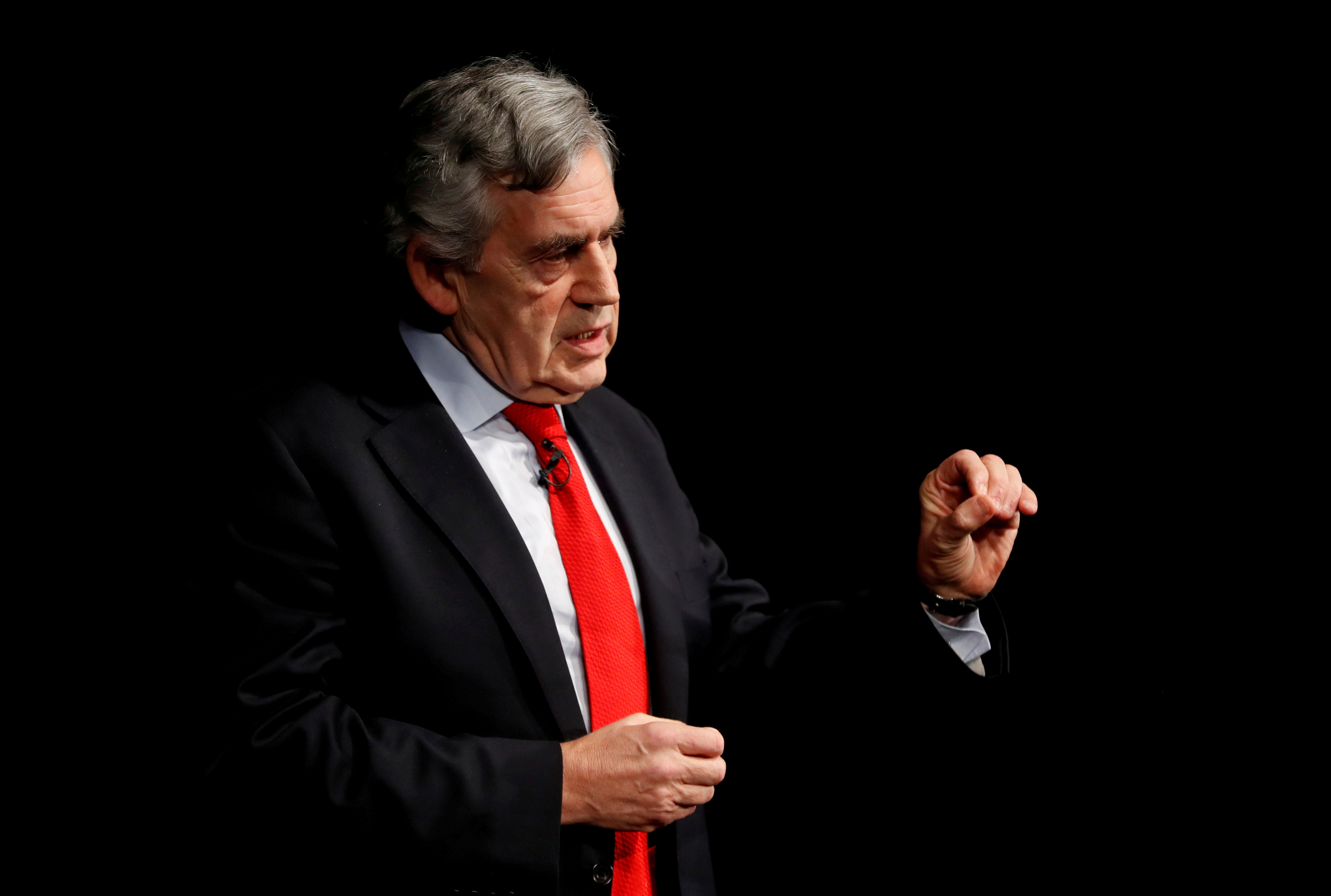 Britain's former Prime Minister Gordon Brown speaks at an event in Edinburgh, Scotland, Britain January 17, 2019. REUTERS/Russell Cheyne