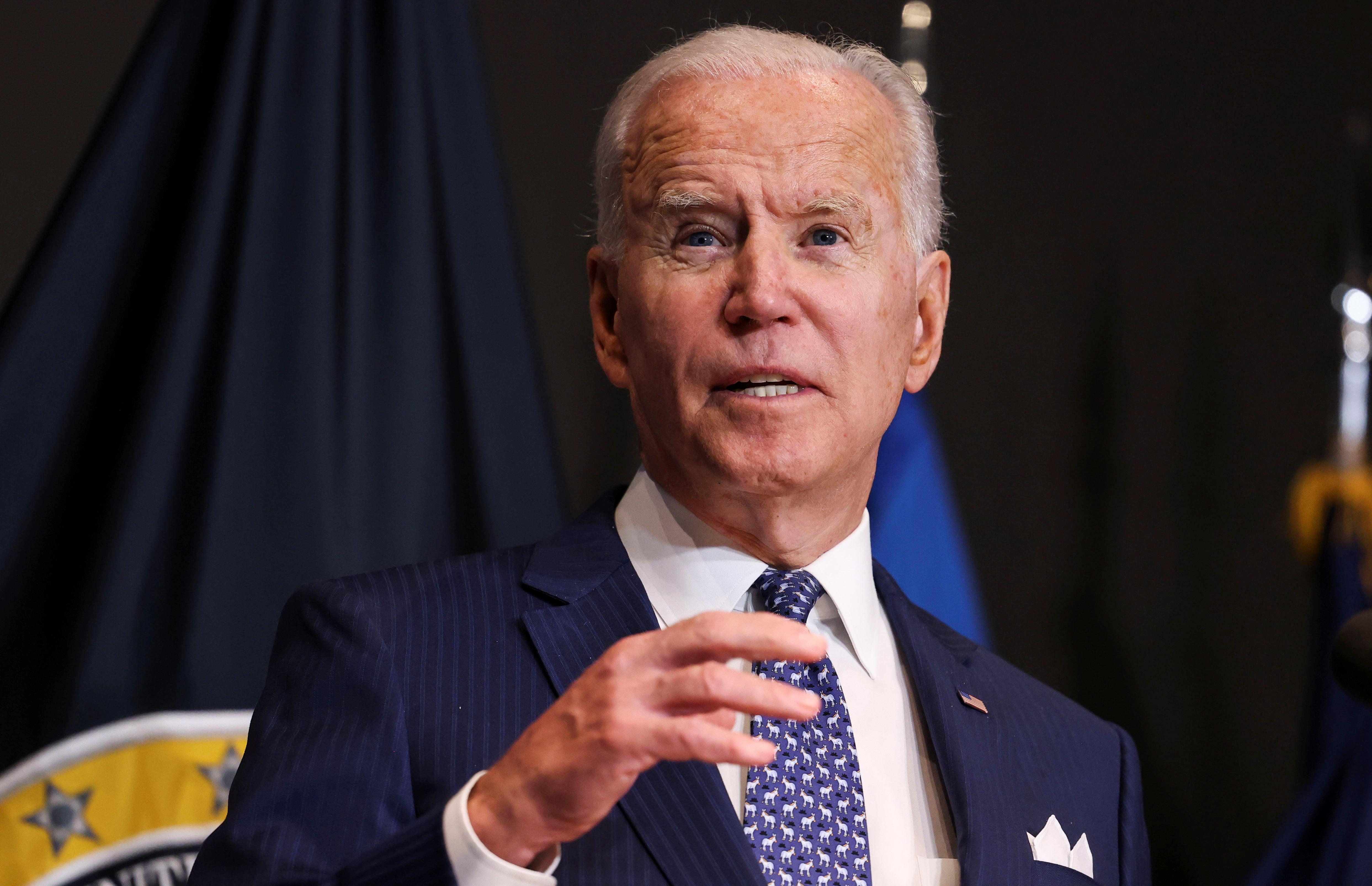 U.S. President Joe Biden delivers remarks to members of