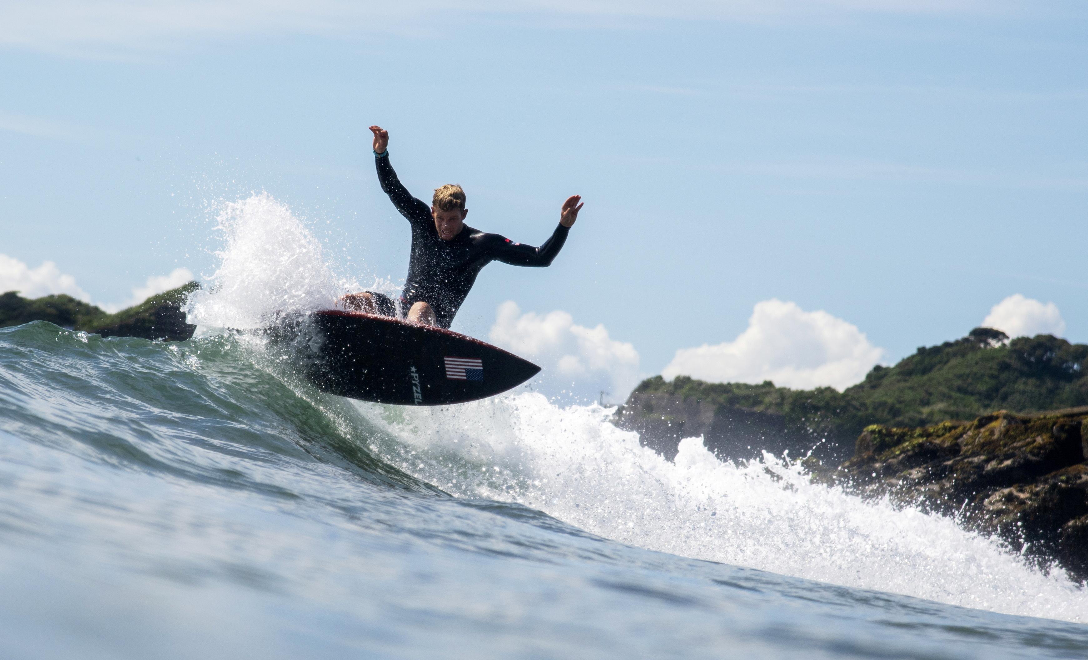 Tokyo 2020 Olympics - Surfing Training - Tsurigasaki Surfing Beach, Tokyo, Japan - July 23, 2021 John John Florence of the United States during training Pool via Reuters/Olivier Morin/File Photo