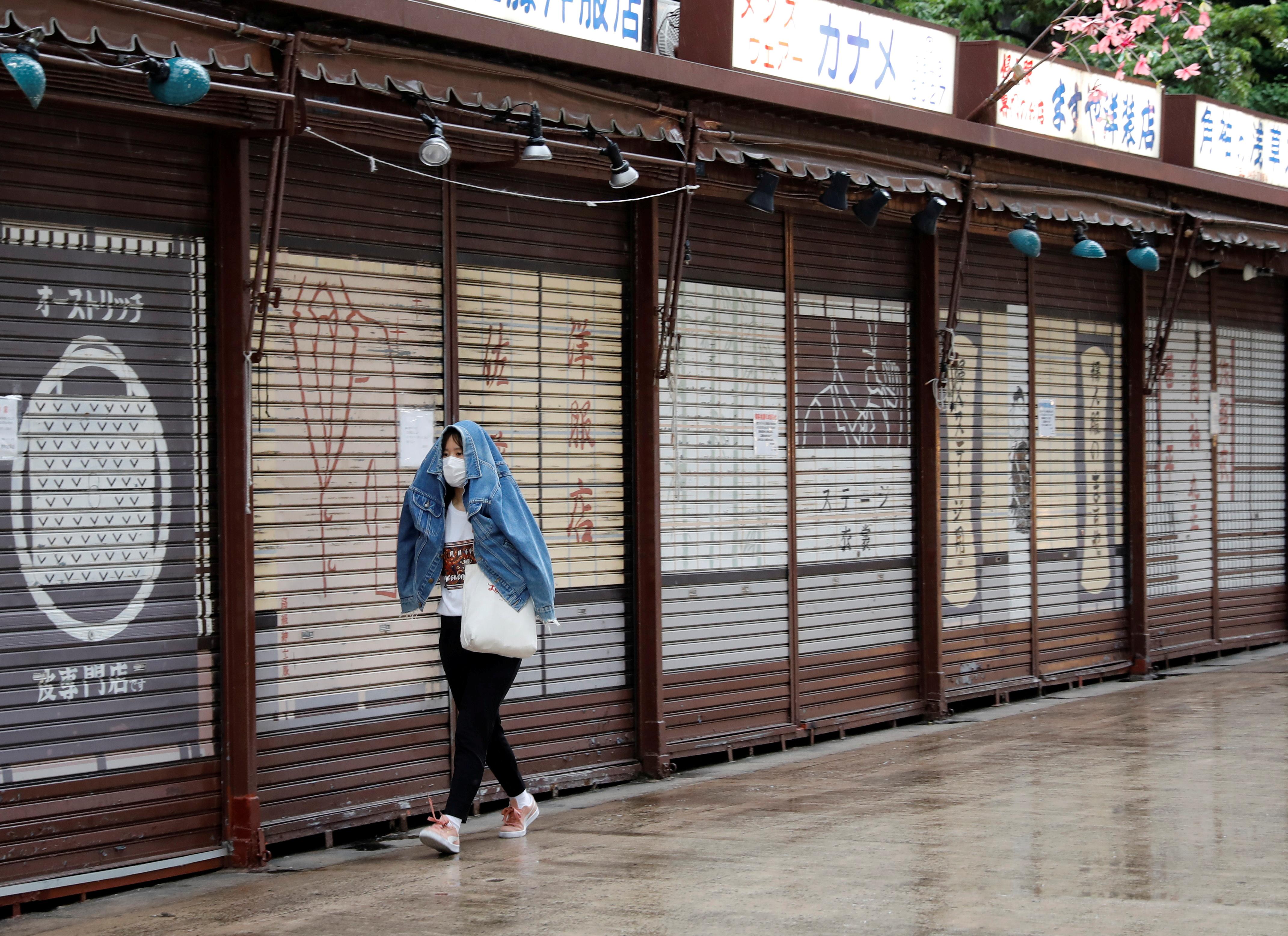 A woman wearing a protective face mask, amid the coronavirus disease (COVID-19) pandemic, walks past closed shops in Asakusa district in Tokyo, Japan, May 7, 2021. REUTERS/Kim Kyung-Hoon
