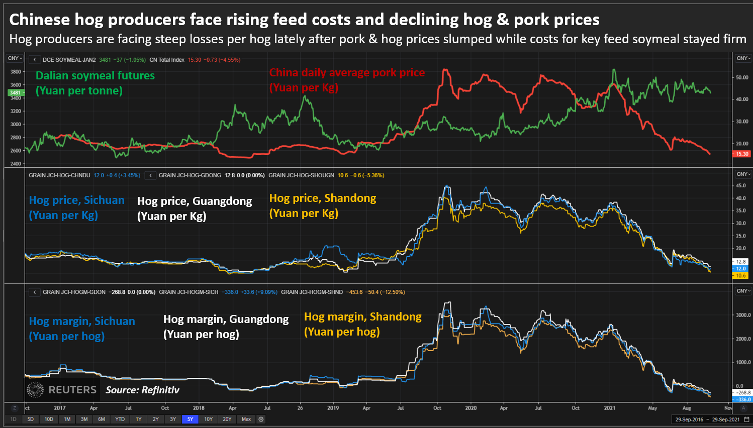 Chinese hog producers face rising feed costs and declining hog & pork prices