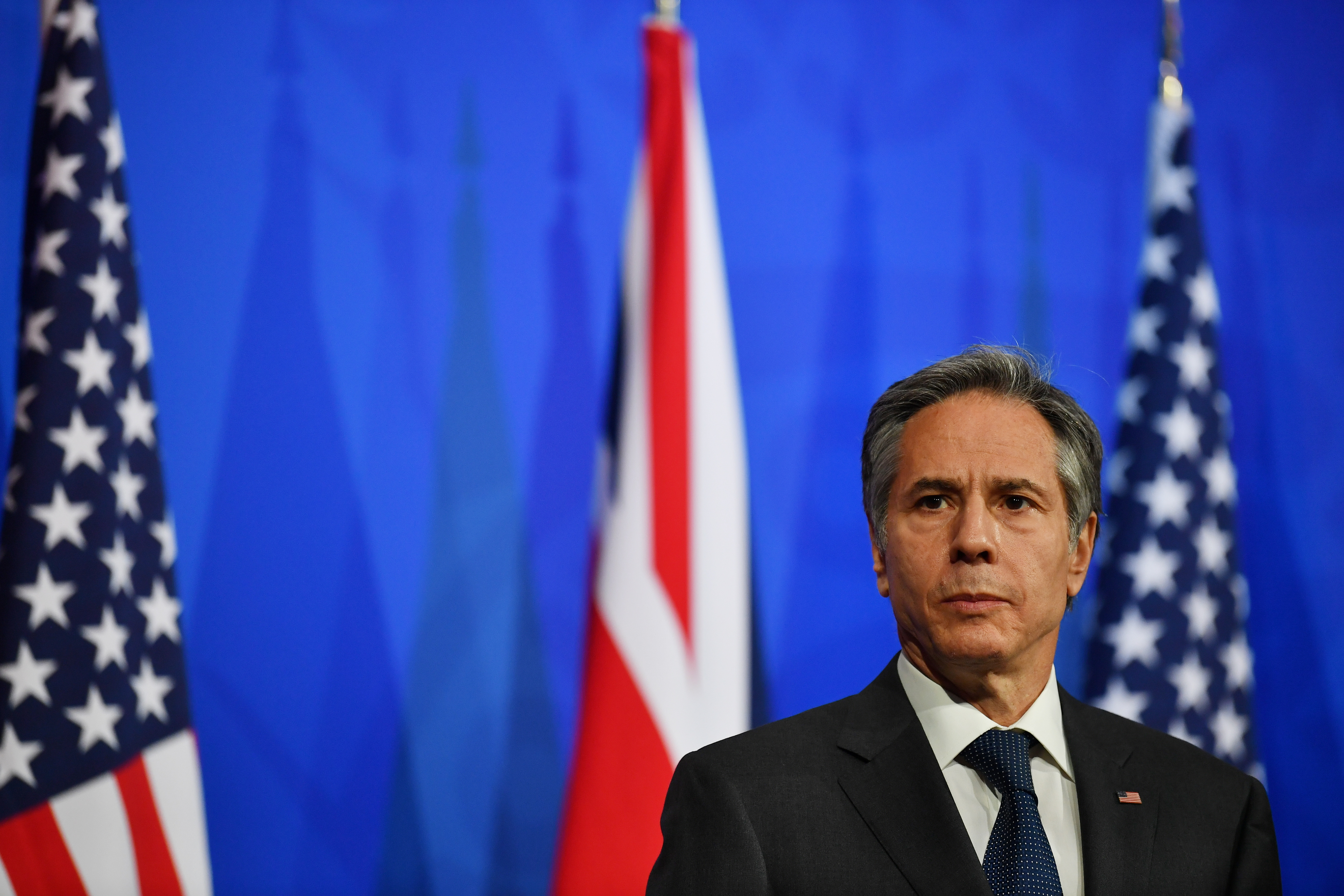 U.S. Secretary of State Antony Blinken attends a joint news conference following a bilateral meeting with Britain's Foreign Secretary Dominic Raab in London, Britain May 3, 2021 during the G7 foreign ministers meeting. Ben Stansall/Pool via REUTERS