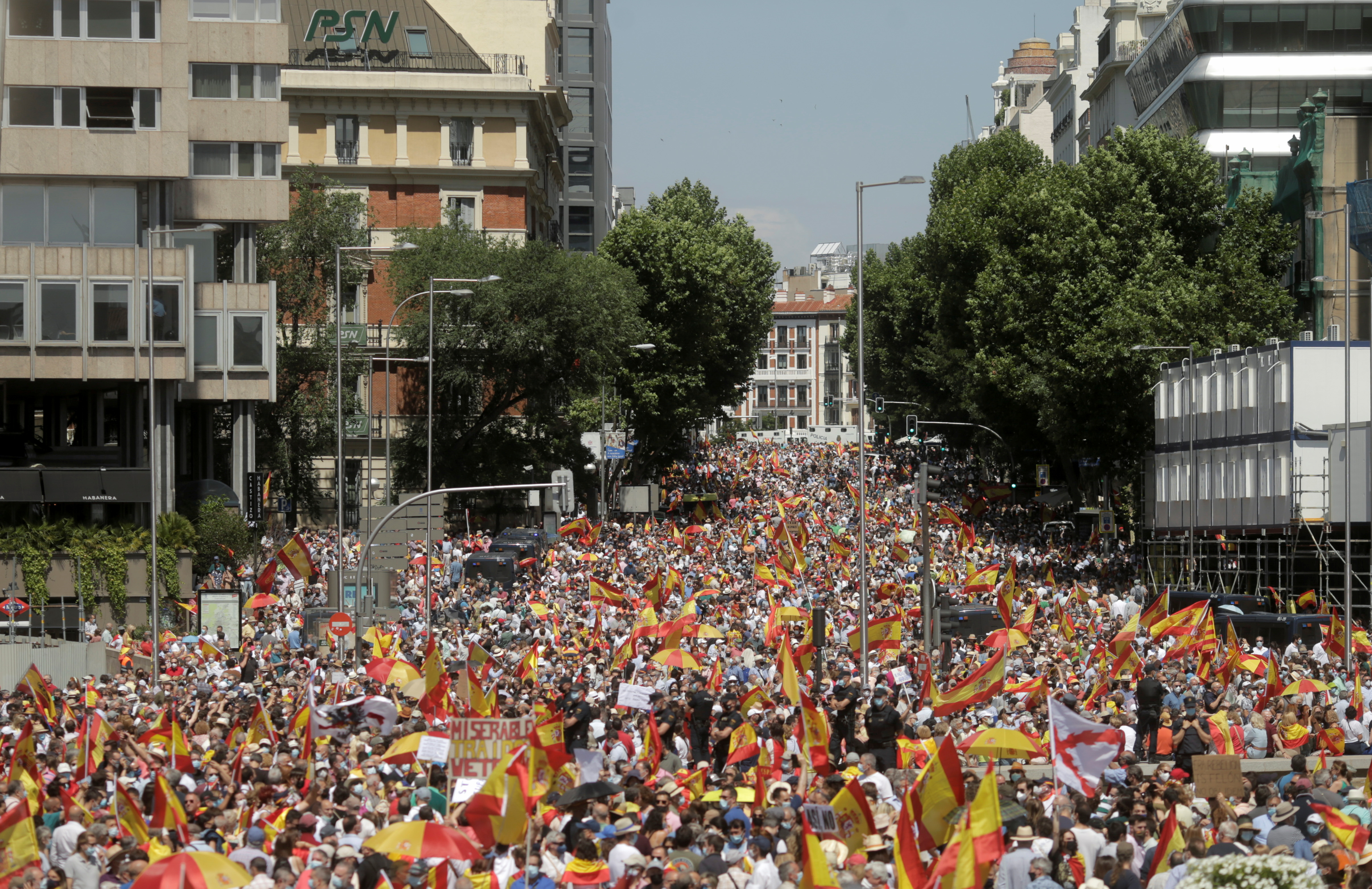 People demonstrate against a plan by the Spanish government to concede pardon to the Catalan politicians who promoted a failed independence declaration of the region in 2017, in Madrid, Spain, June 13, 2021. REUTERS/Javier Barbancho