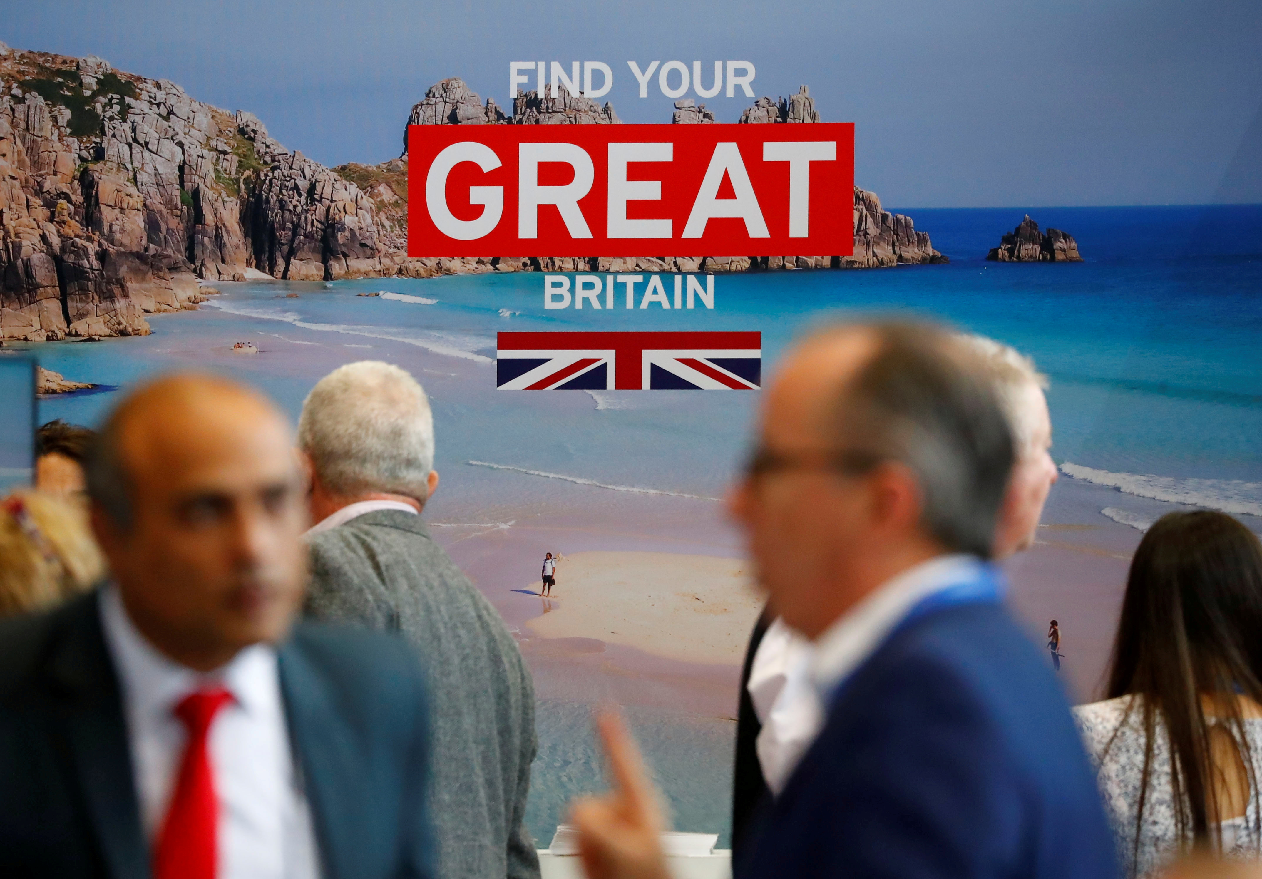 The booth of Britain is seen during the International Tourism Trade Fair ITB in Berlin, Germany, March 7, 2019.   REUTERS/Fabrizio Bensch/Files