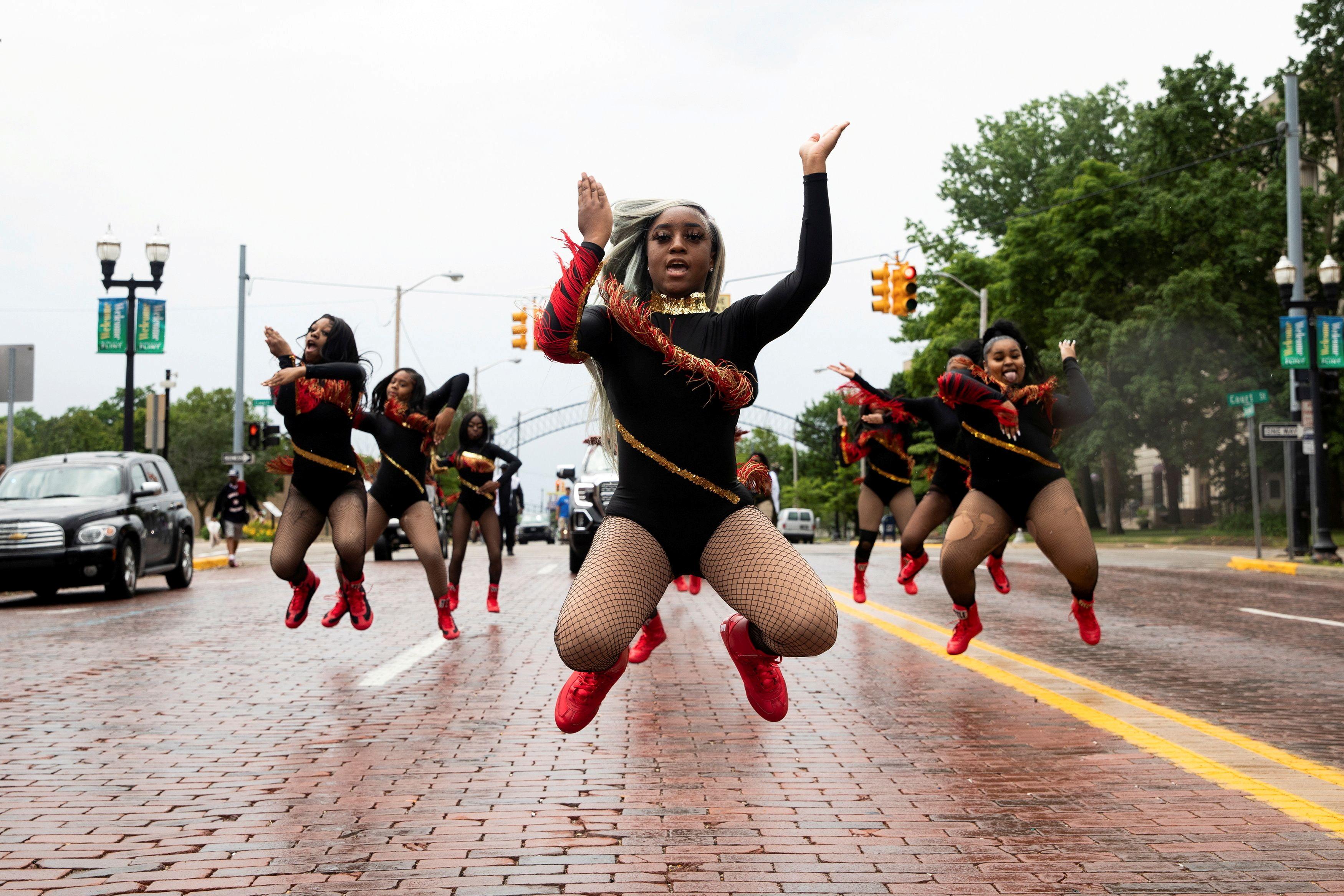 Dance captain Shair'Mae Harris, 17, leads members from
