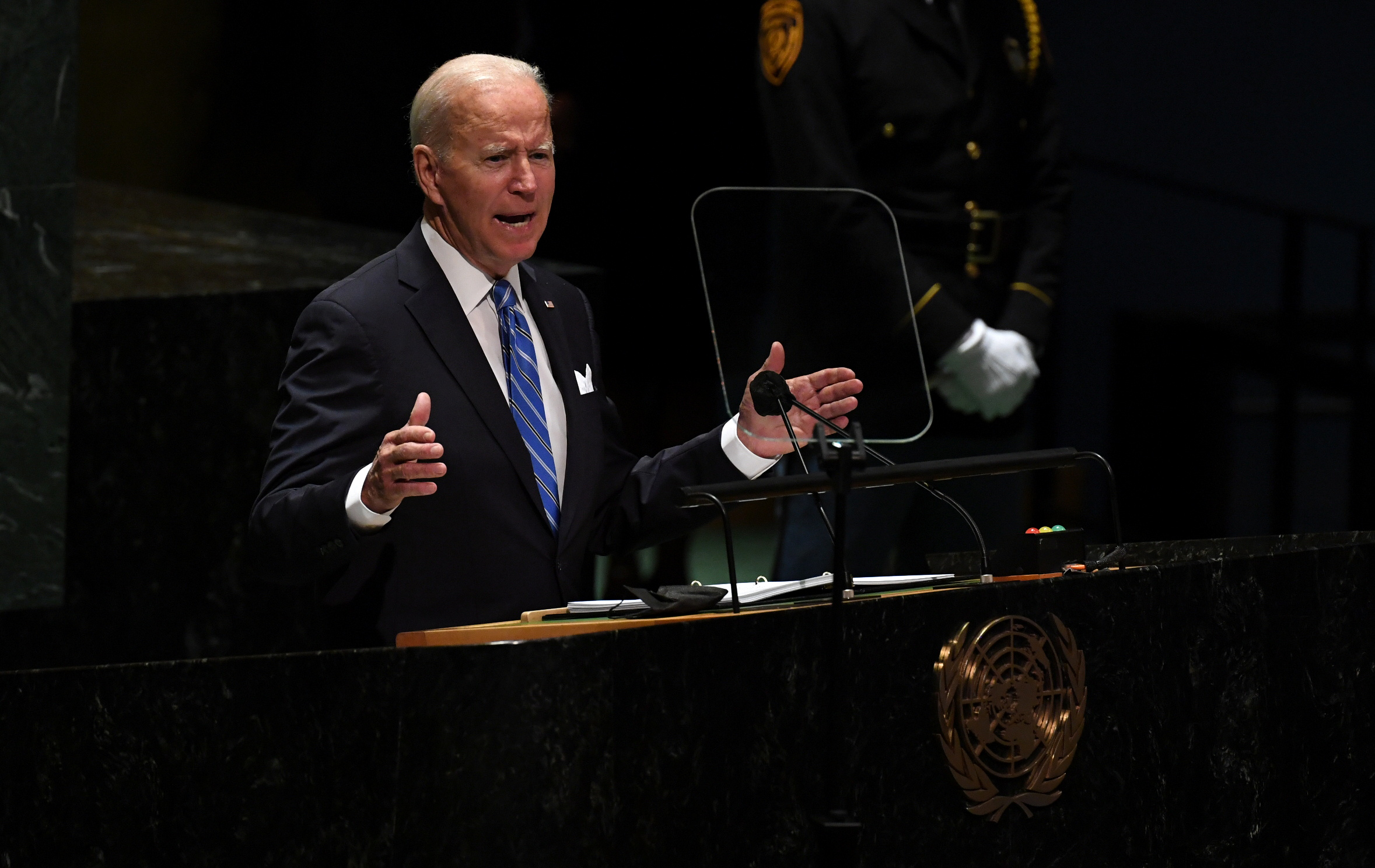 U.S. President Joe Biden speaks during the 76th Session of the General Assembly at UN Headquarters in New York on September 21, 2021. Timothy A. Clary/Pool via REUTERS