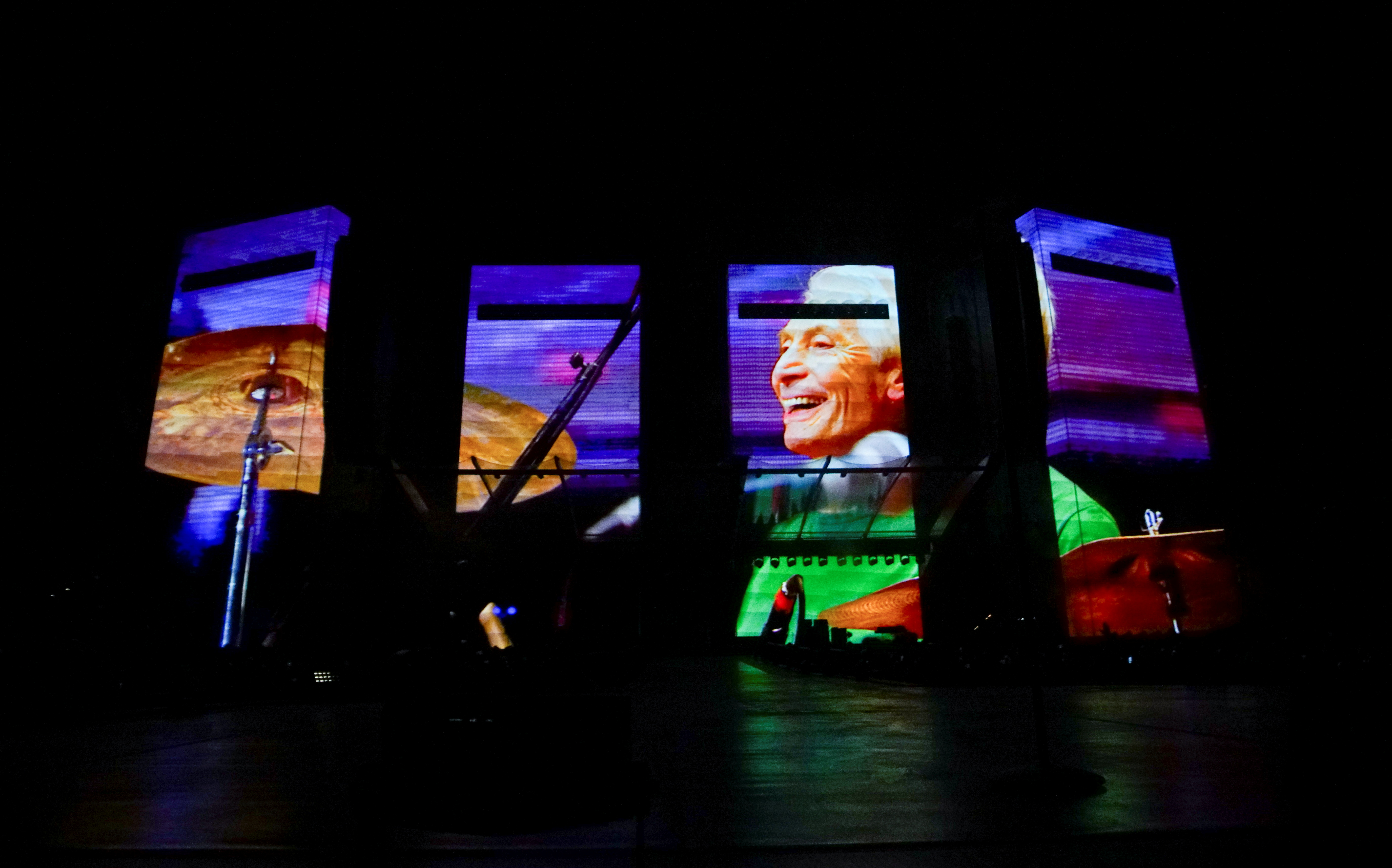 A tribute to drummer Charlie Watts is played at the kick off The Rolling Stones' U.S. tour, a month after his death, in St. Louis, Missouri, U.S. September 26, 2021. REUTERS/Lawrence Bryant