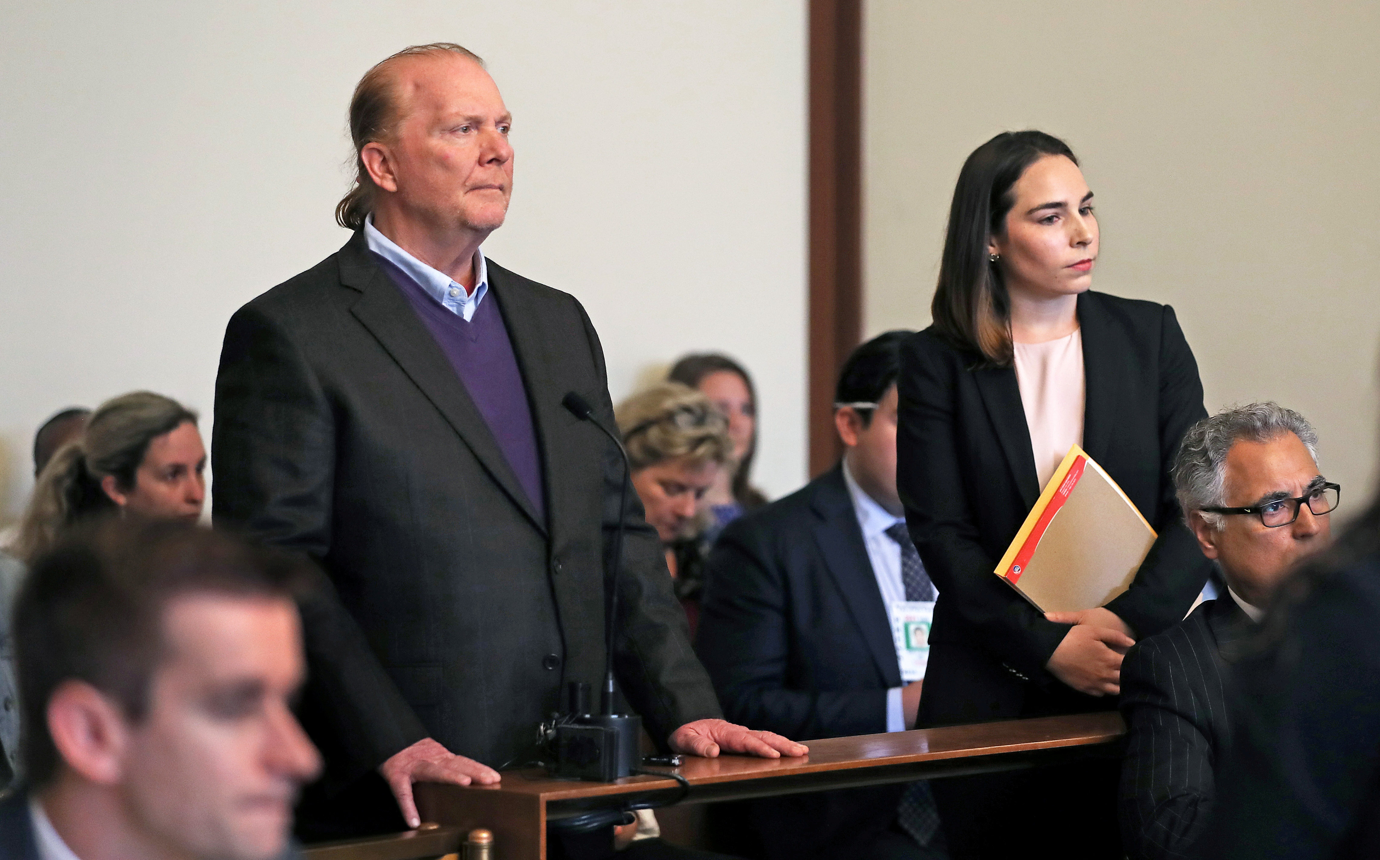 Celebrity chef Mario Batali, 58, is arraigned on a charge of indecent assault and battery at Boston Municpal Court in Boston, Massachusetts, U.S. May 24, 2019.  David L Ryan/Pool via REUTERS/File Photo