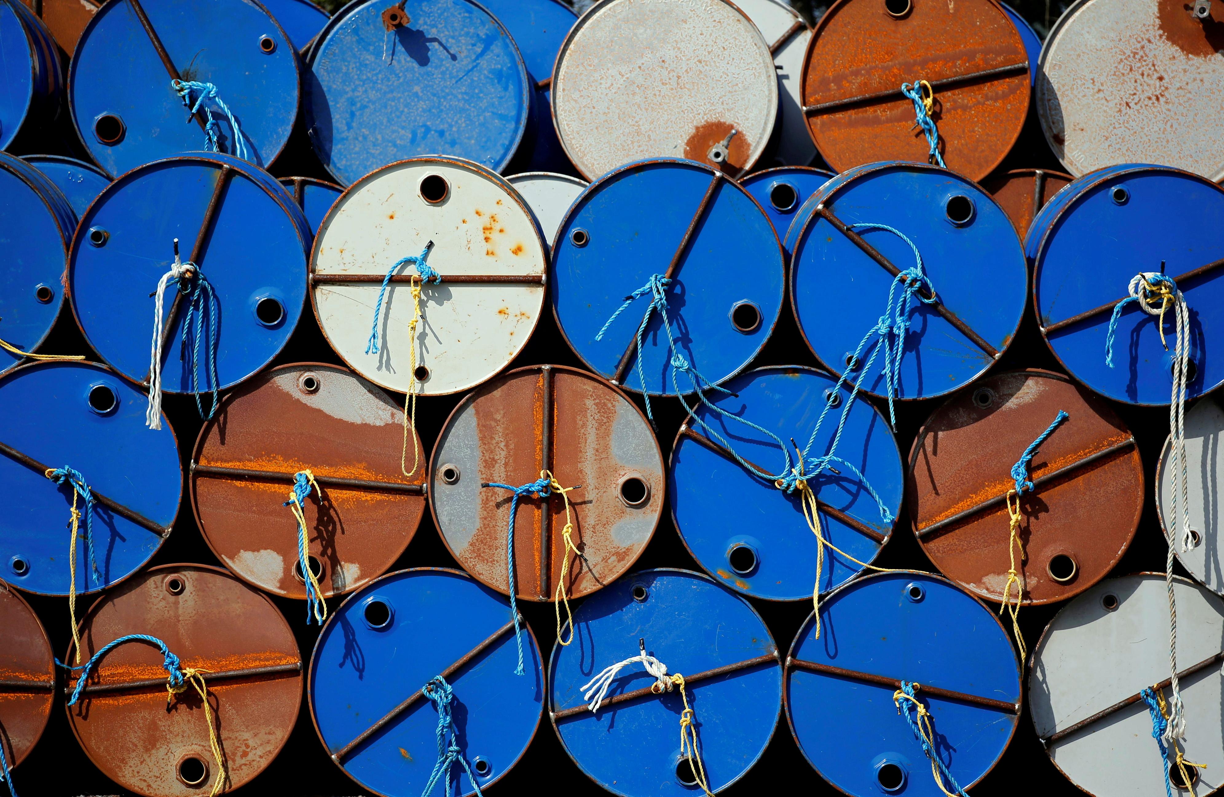 Oil barrels are pictured at the site of Canadian group Vermilion Energy in Parentis-en-Born, France, October 13, 2017. REUTERS/Regis Duvignau