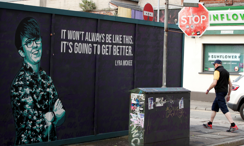 A mural depicting murdered journalist Lyra McKee is seen in Belfast, Northern Ireland September 6, 2019. REUTERS/John Sibley