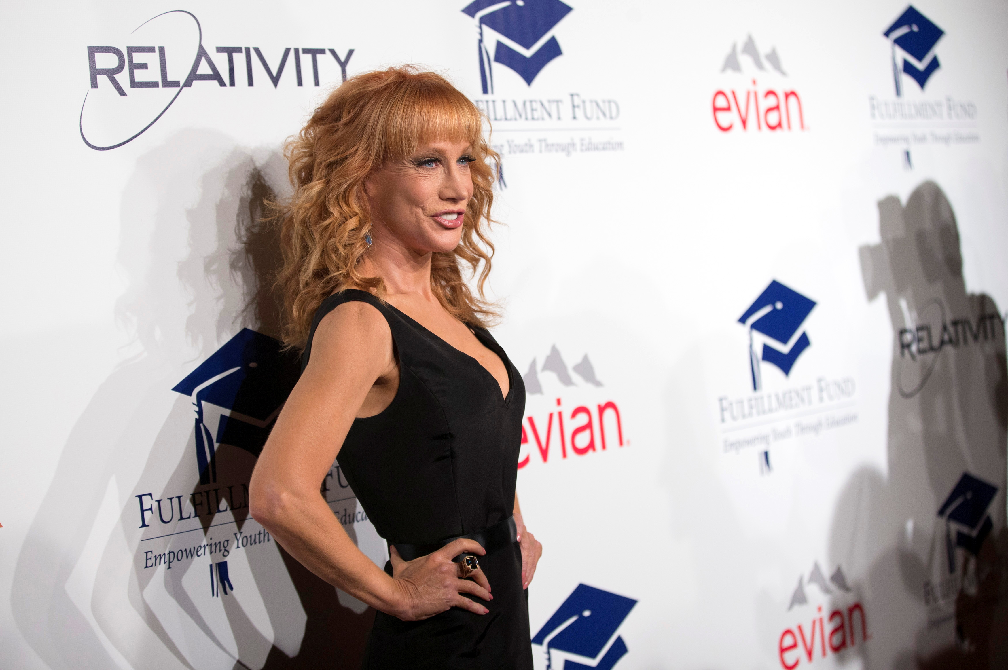 Comedian Kathy Griffin poses at the 20th Annual Fulfillment Fund Stars benefit gala in Beverly Hills, California October 14, 2014. REUTERS/Mario Anzuoni/File Photo