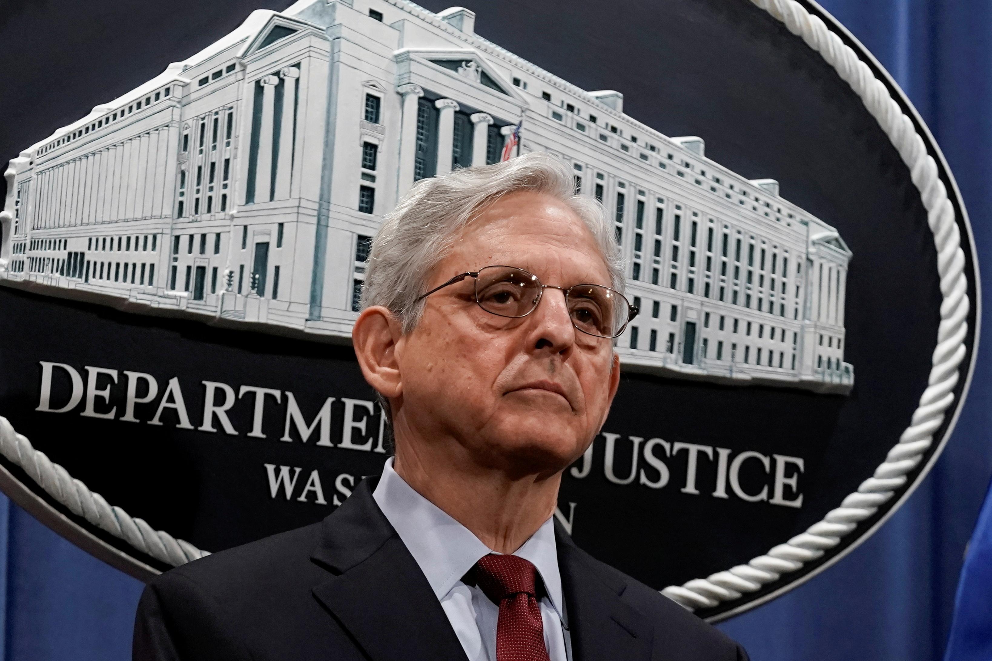 U.S. Attorney General Merrick Garland attends a news conference. REUTERS/Ken Cedeno