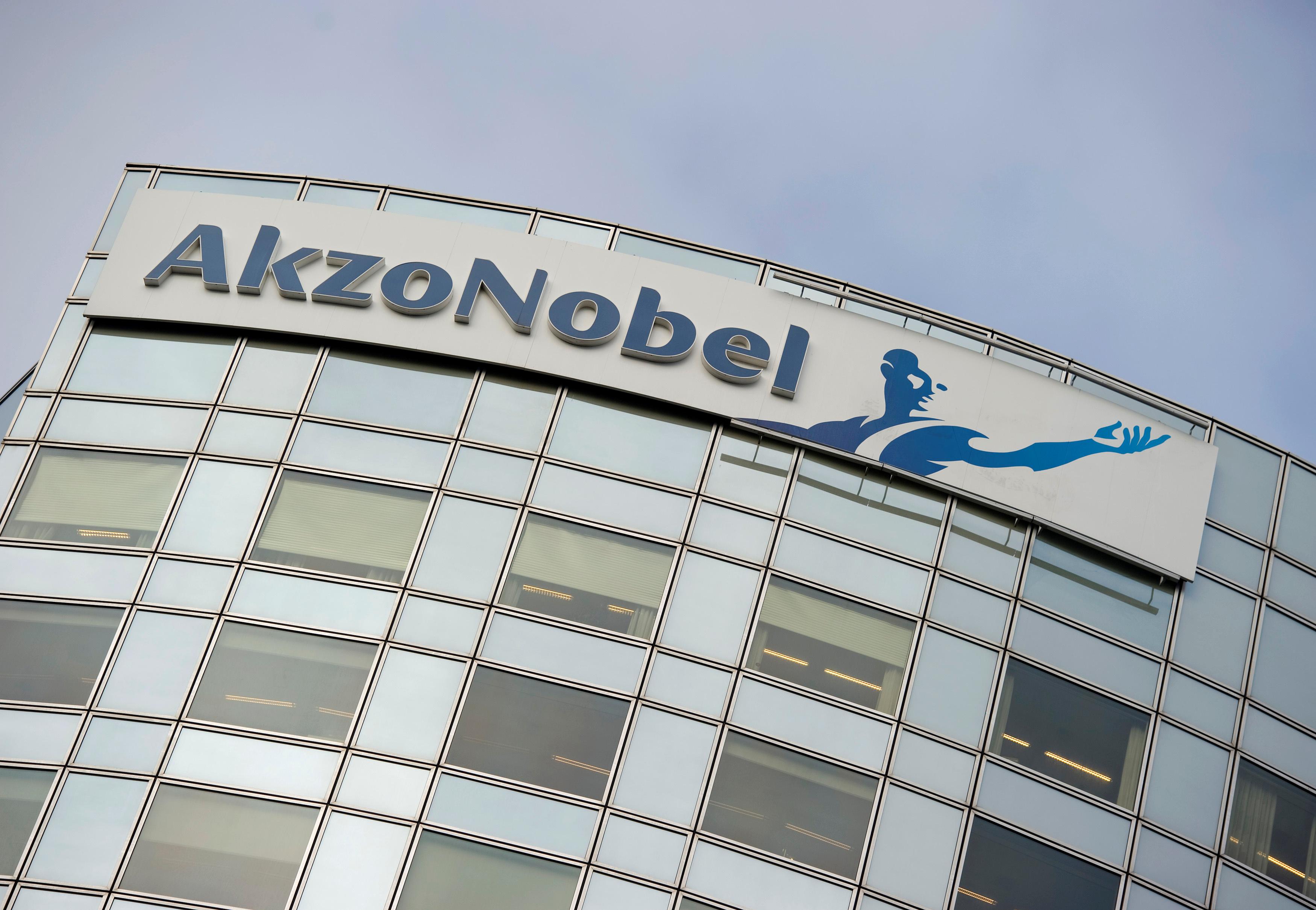 AkzoNobel's logo is seen in Amsterdam, Netherlands, February 16, 2012. REUTERS/Robin van Lonkhuijsen