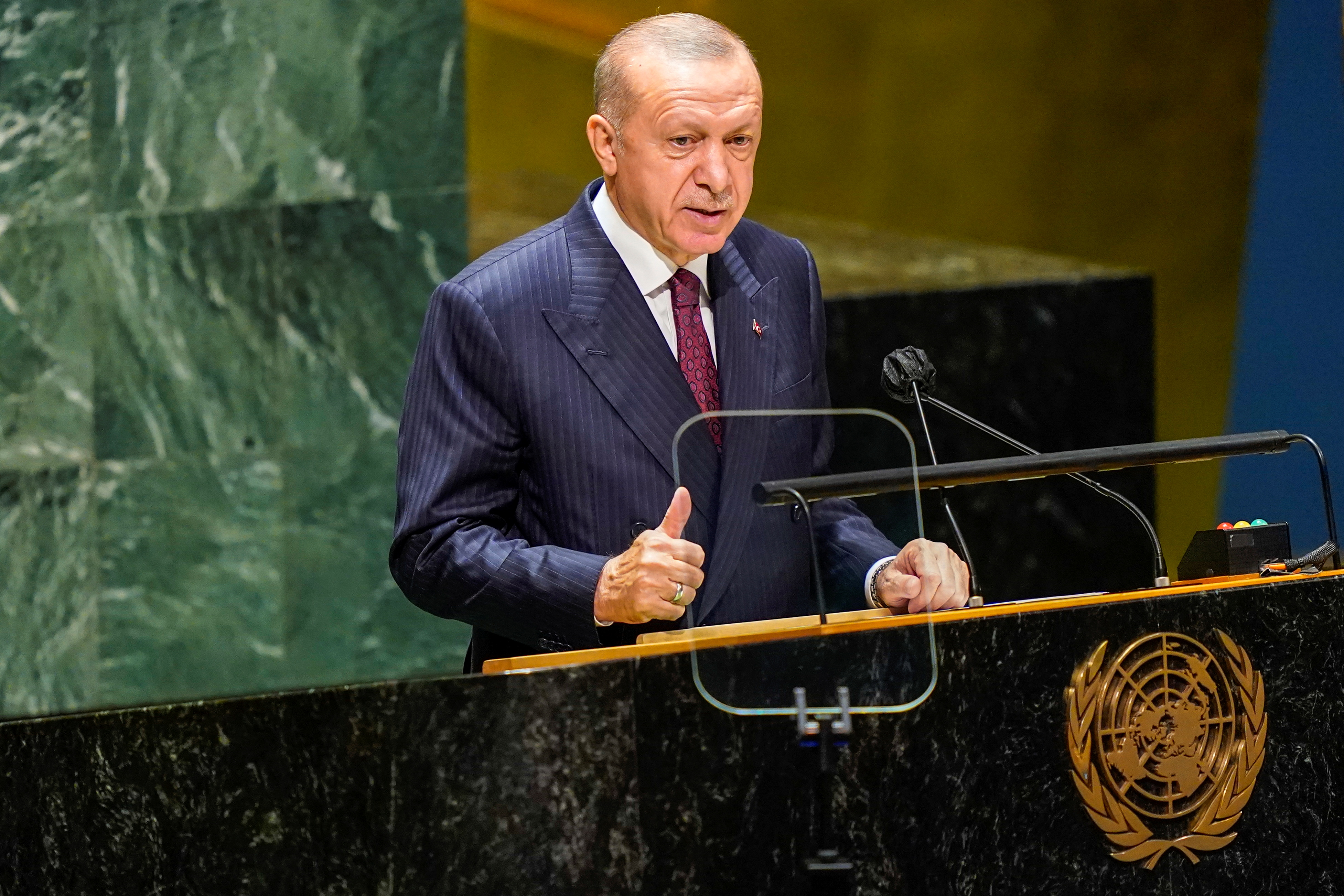 Turkish President Tayyip Erdogan speaks during the 76th Session of the General Assembly at UN Headquarters in New York on September 21, 2021. Mary Altaffer/Pool via REUTERS