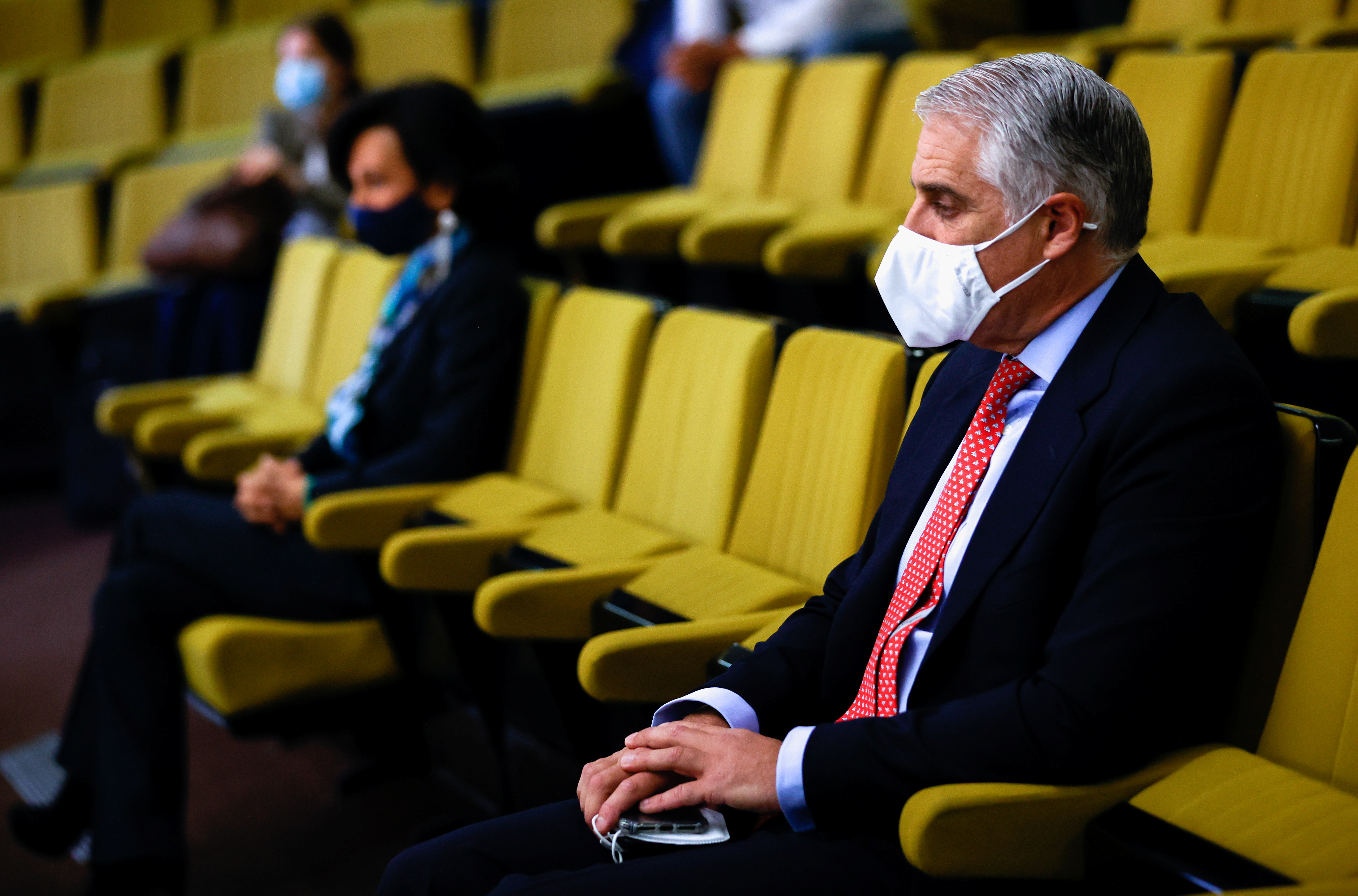 Italian banker Andrea Orcel and Banco Santander's chairwoman Ana Patricia Botin attend a trial against Santander over the bank's withdrawal of a CEO job offer to Orcel, in a high court in Madrid, Spain, May 19, 2021. REUTERS/Juan Medina