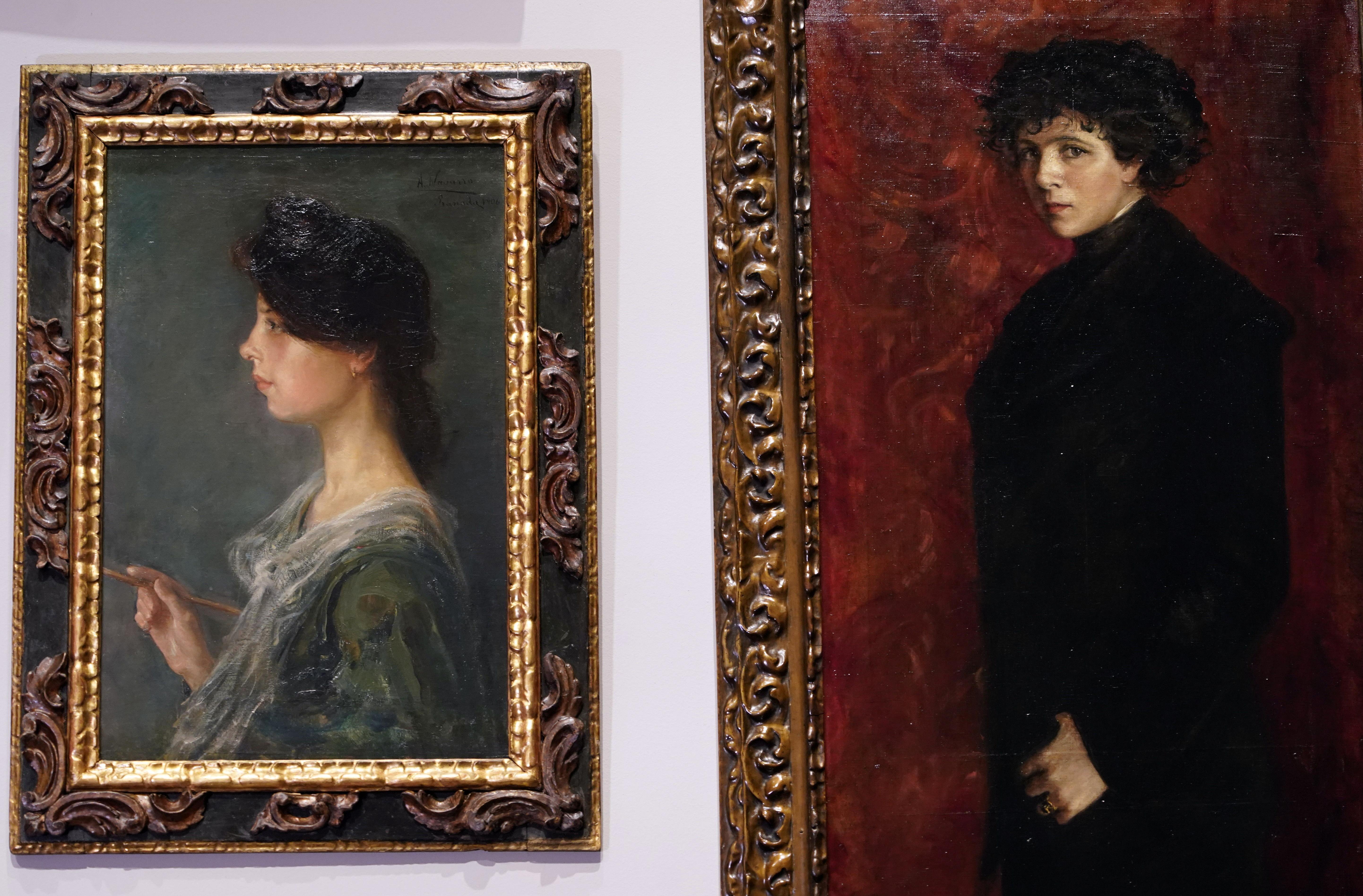 The self-portraits of painters Aurelia Navarro Moreno (L) and Maria Roesset are seen at El Prado Museum in Madrid, Spain July 21, 2021. REUTERS/Juan Medina NO RESALES. NO ARCHIVES