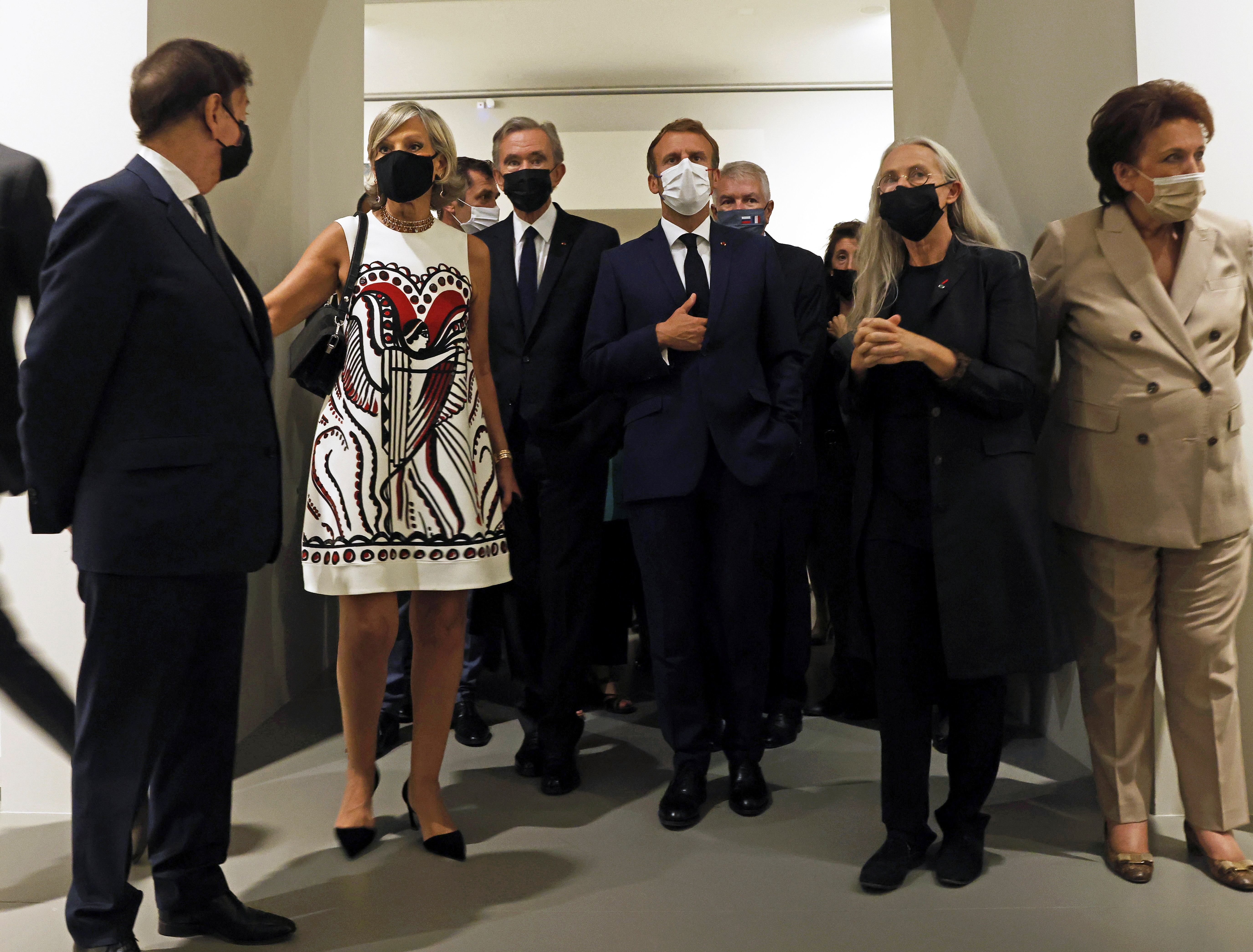 French President Emmanuel Macron visits the exhibition 'The Morozov Collection, Icons of Modern Art' at Foundation Louis Vuitton in Paris, France, September 21, 2021. Yoan Valat/Pool via REUTERS