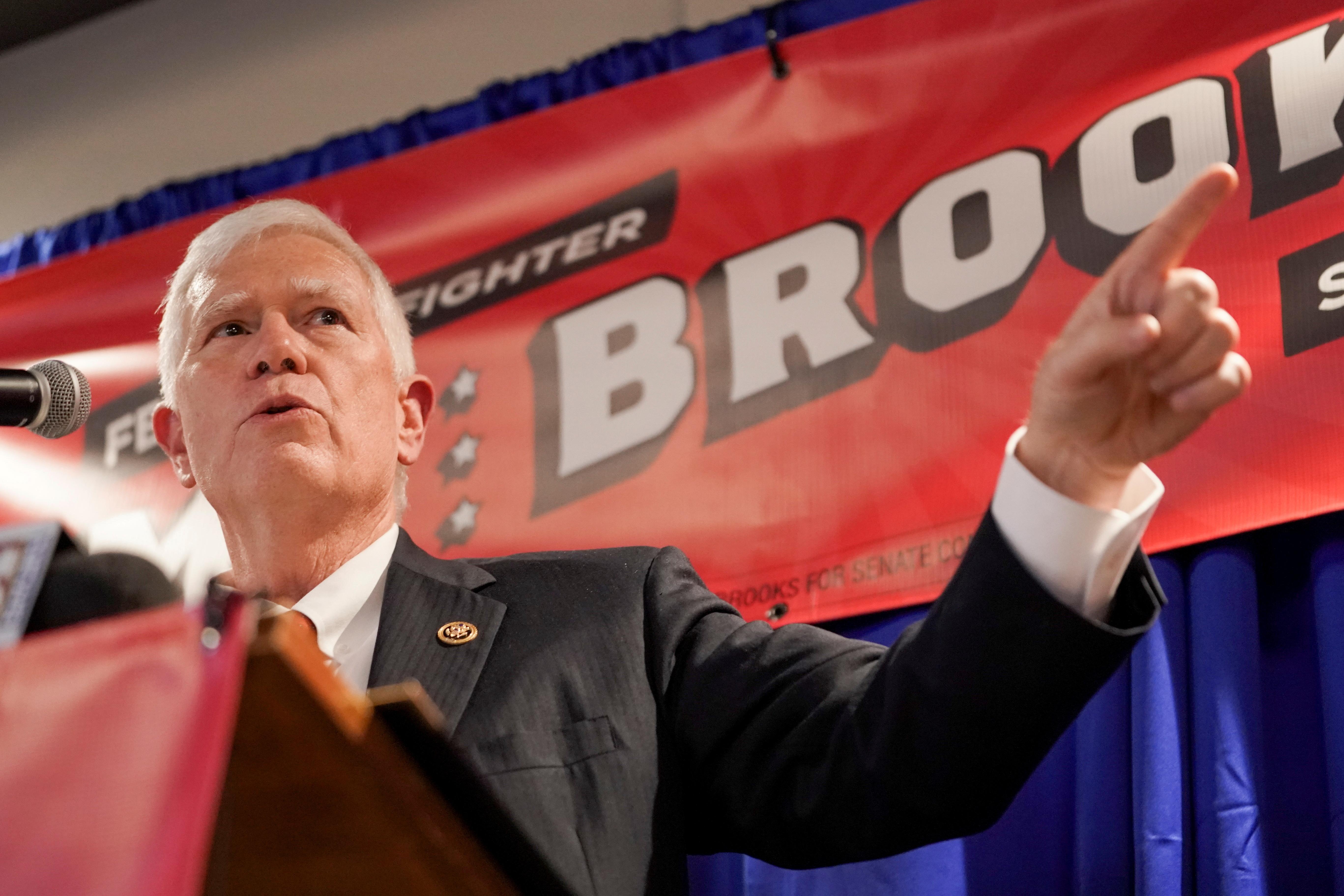U.S. Rep. Mo Brooks (R-AL) makes an announcement in Huntsville, Alabama, U.S. March 22, 2021. REUTERS/Elijah Nouvelage/File Photo