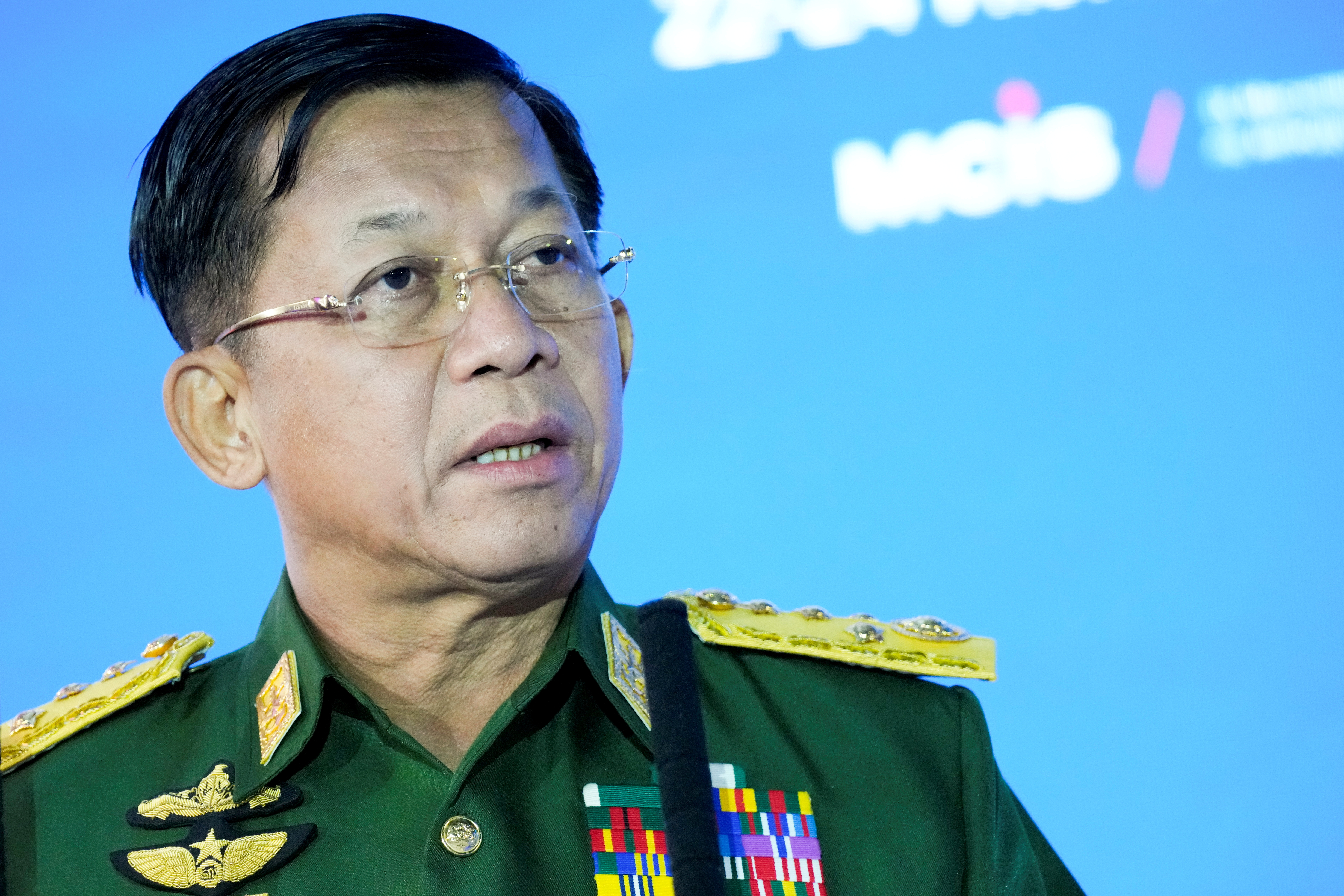 Commander-in-Chief of Myanmar's armed forces, Senior General Min Aung Hlaing delivers his speech at the IX Moscow conference on international security in Moscow, Russia June 23, 2021. Alexander Zemlianichenko/Pool via REUTERS