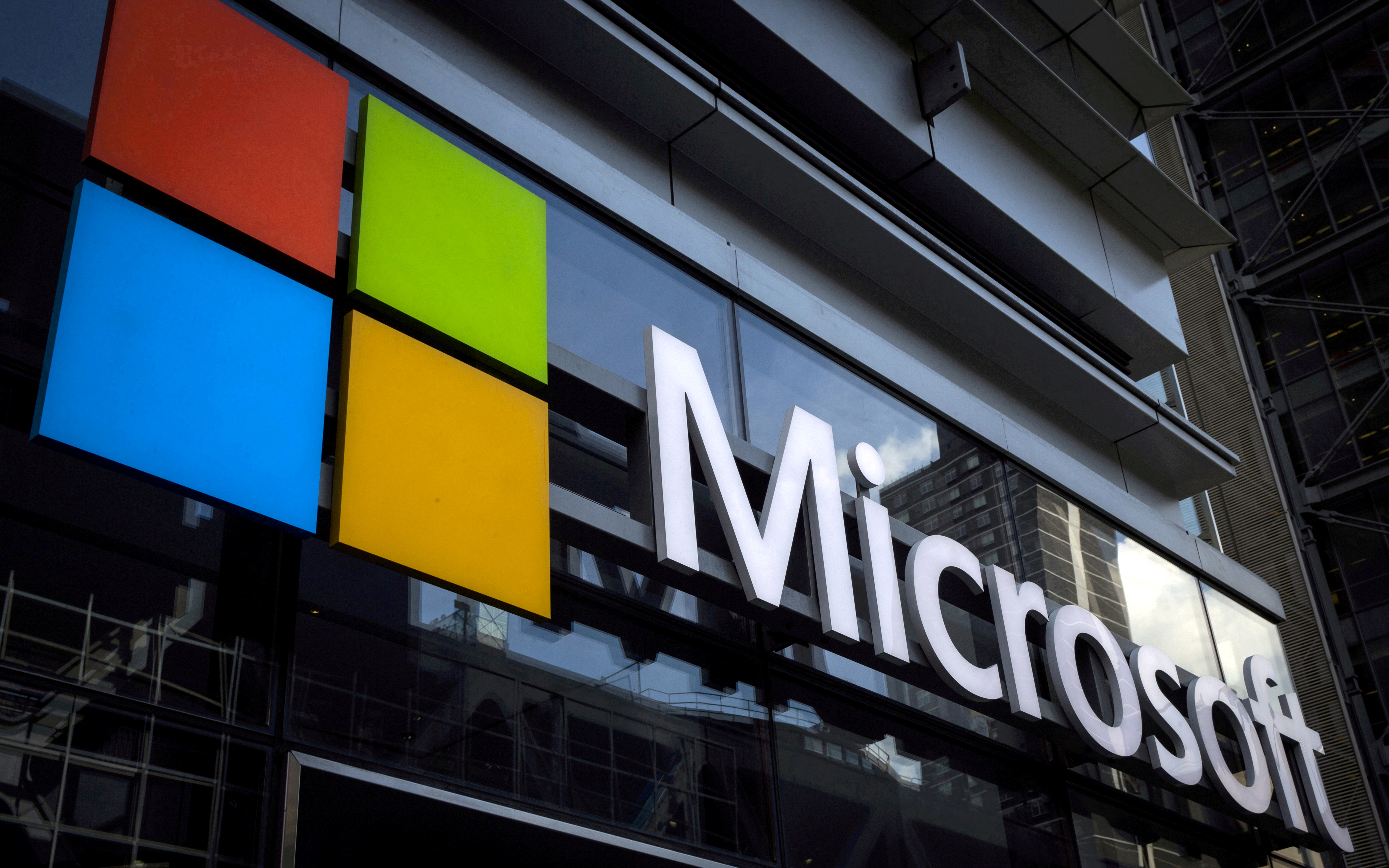 A Microsoft logo is seen on an office building in New York City, U.S. on July 28, 2015. REUTERS/Mike Segar/File Photo