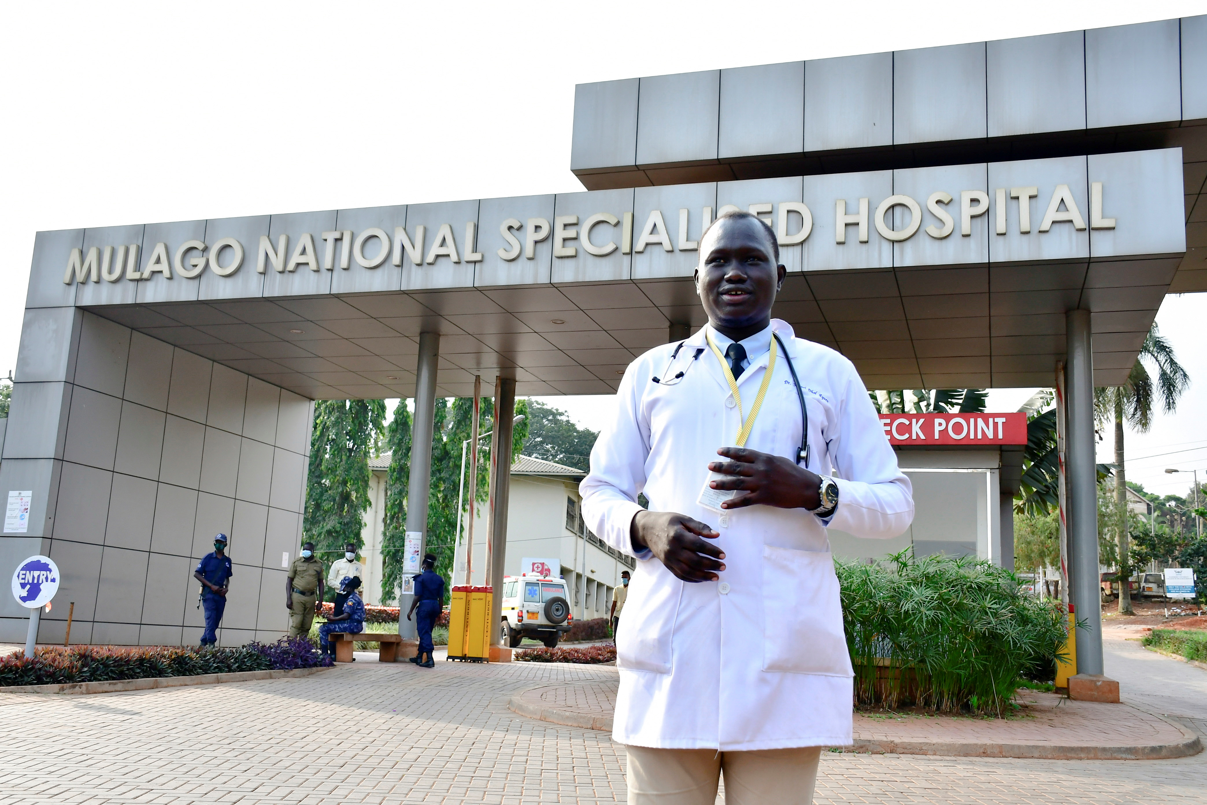 Samuel Dhol Ayeun, a trainee doctor who fled from South Sudan to Uganda, poses for a photo at the Mulago National Specialised Hospital in Kampala, Uganda June 17, 2021. Picture taken June 17, 2021. REUTERS/Abubaker Lubowa
