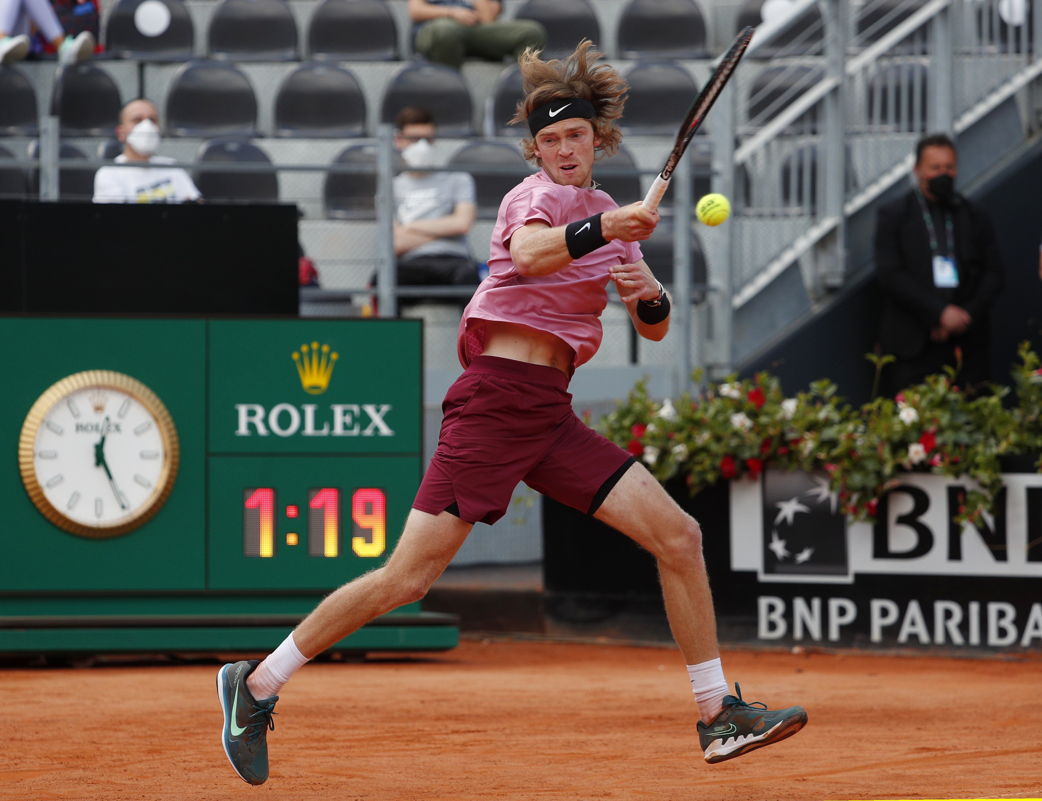 Tennis - ATP Masters 1000 - Italian Open - Foro Italico, Rome, Italy - May 15, 2021 Russia's Andrey Rublev in action during his quarter final match against Italy's Lorenzo Sonego REUTERS/Guglielmo Mangiapane